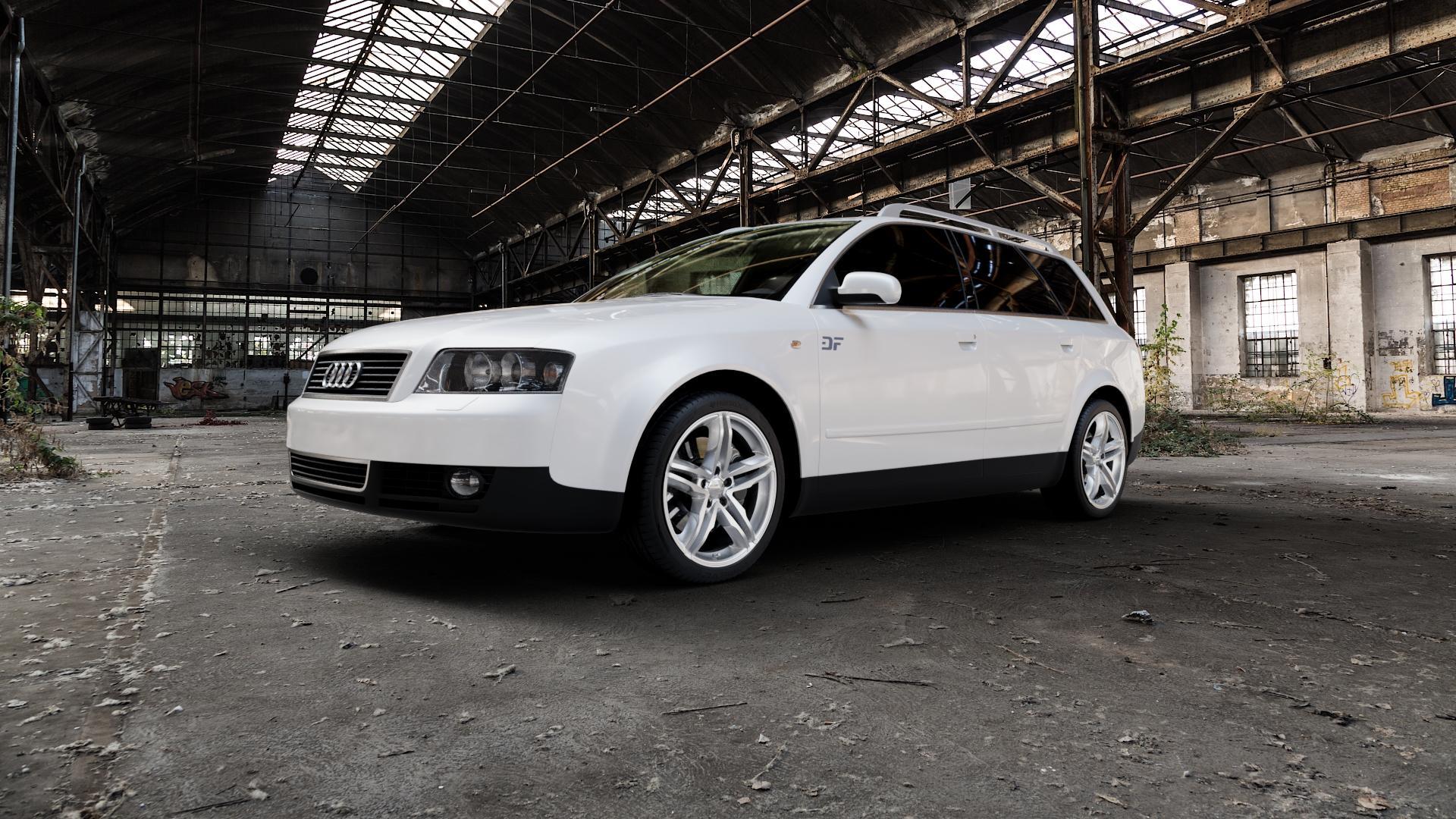 2DRV WH11 Arktic Silber lackiert Felge mit Reifen in 18Zoll Winterfelge Alufelge auf weissem Audi A4 Typ 8E5/B6 (Avant) ⬇️ mit 15mm Tieferlegung ⬇️ Industriehalle 1 Camera_000