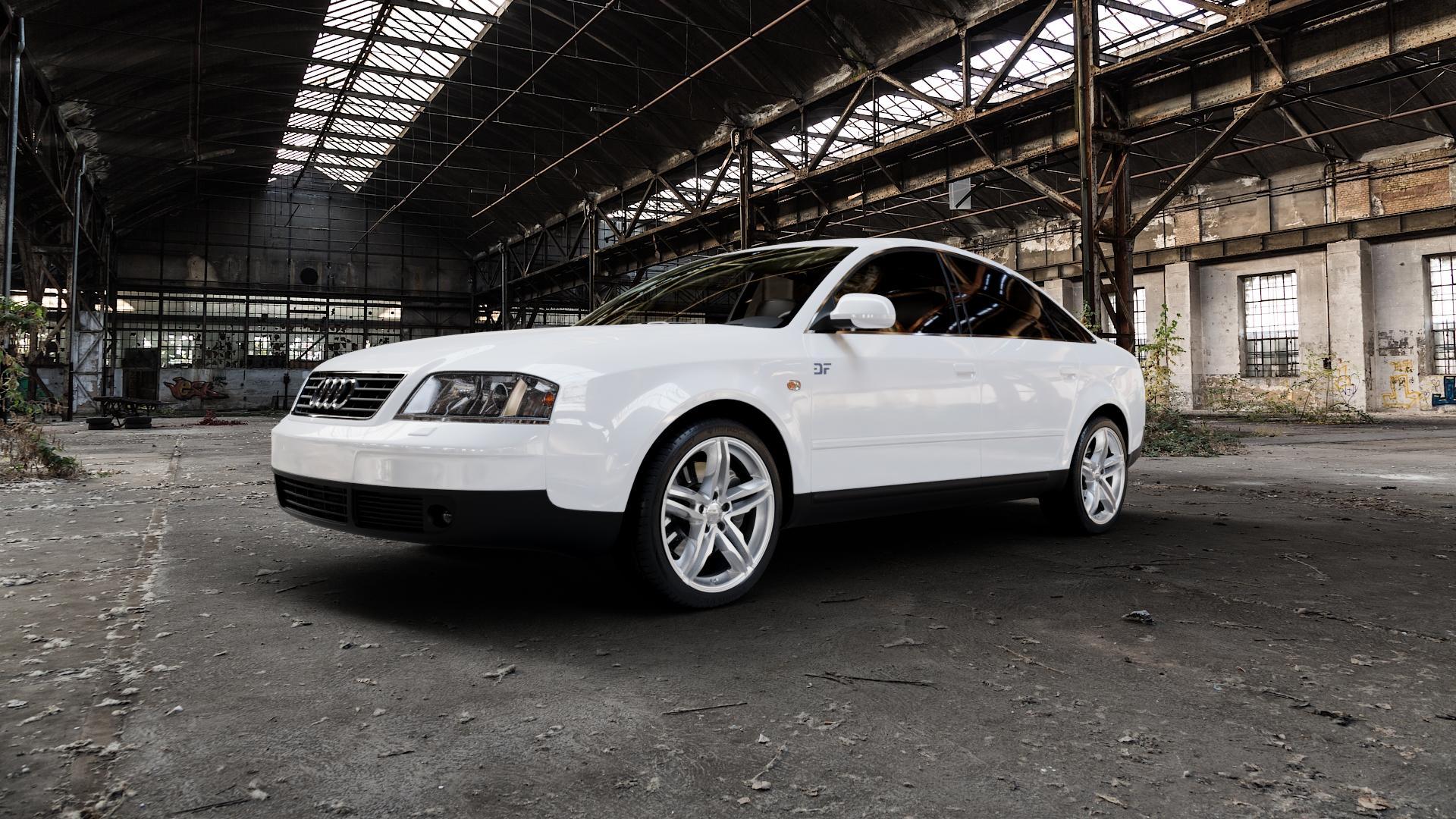 2DRV WH11 Arktic Silber lackiert Felge mit Reifen in 18Zoll Winterfelge Alufelge auf weissem Audi A6 Typ 4B/C5 (Limousine) ⬇️ mit 15mm Tieferlegung ⬇️ Industriehalle 1 Camera_000