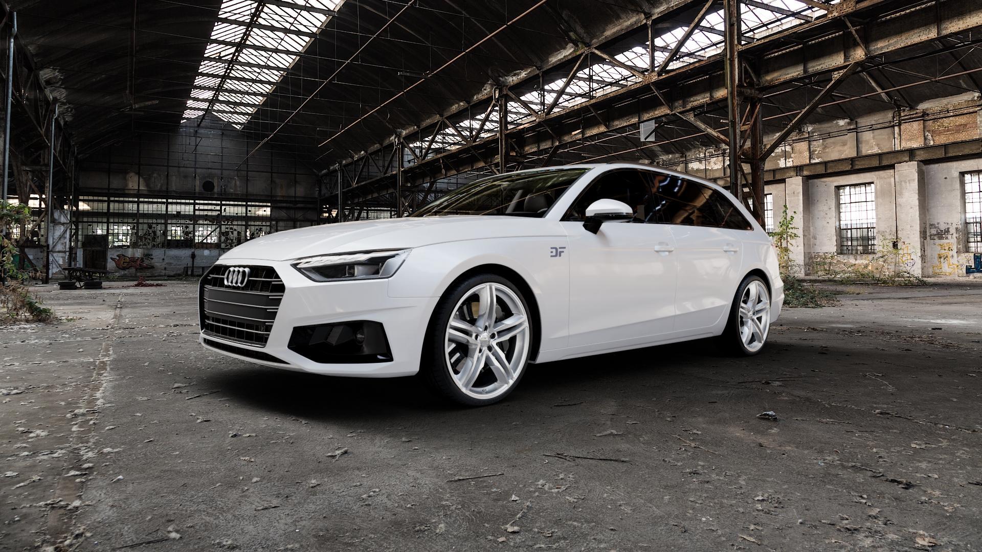 2DRV WH11 Arktic Silber lackiert Felge mit Reifen in 20Zoll Winterfelge Alufelge auf weissem Audi A4 Typ B9 (Avant) Facelift ⬇️ mit 15mm Tieferlegung ⬇️ Industriehalle 1 Camera_000
