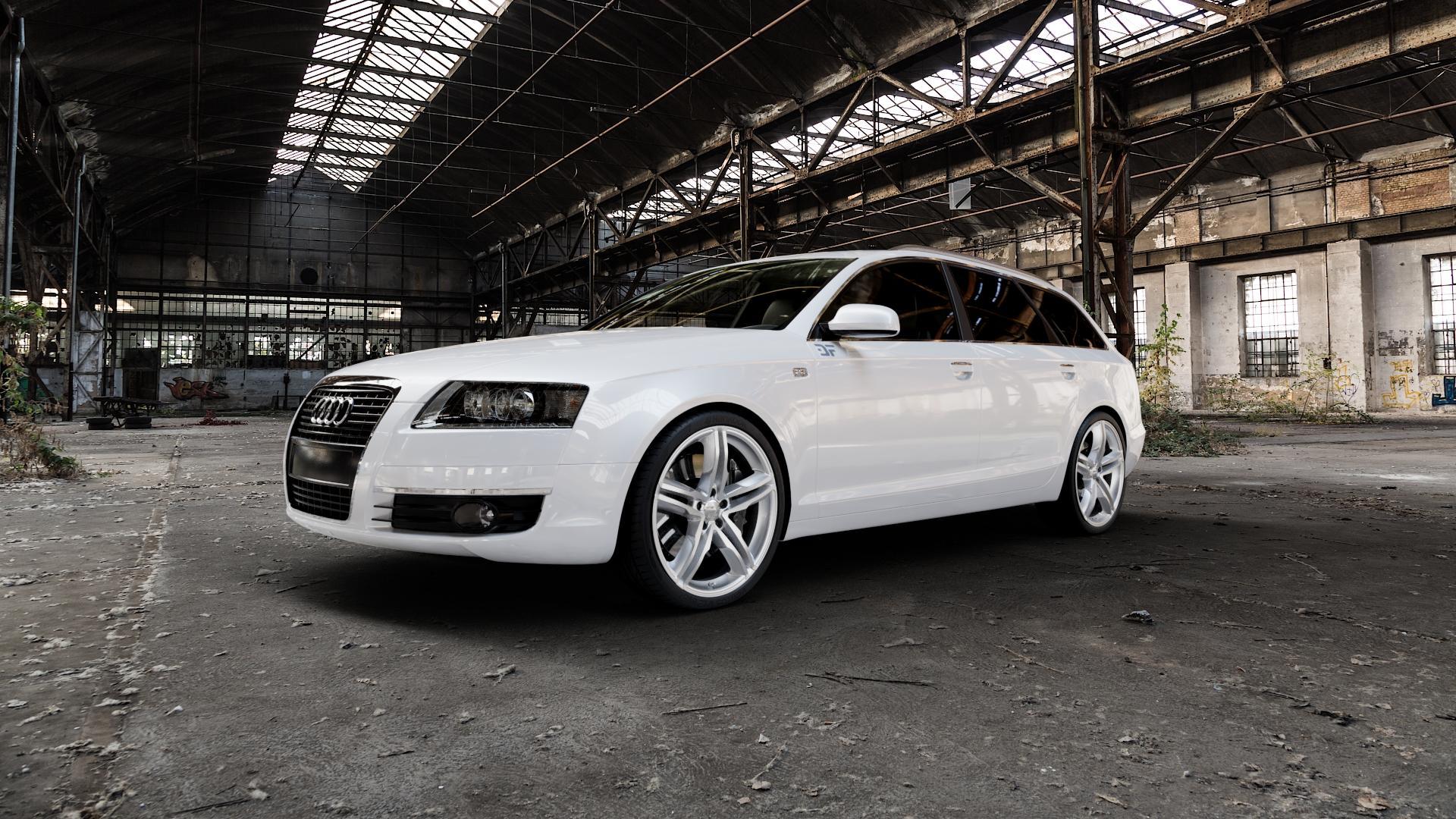 2DRV WH11 Arktic Silber lackiert Felge mit Reifen in 20Zoll Winterfelge Alufelge auf weissem Audi A6 Typ 4F/C6 (Avant) ⬇️ mit 15mm Tieferlegung ⬇️ Industriehalle 1 Camera_000