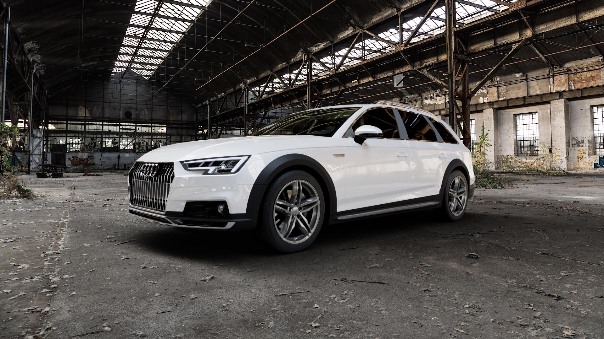 2DRV WH11 Daytona Grau lackiert Felge mit Reifen in 18Zoll Winterfelge Alufelge auf weissem Audi A4 Typ B9 Allroad ⬇️ mit 15mm Tieferlegung ⬇️ Industriehalle 1 Camera_000