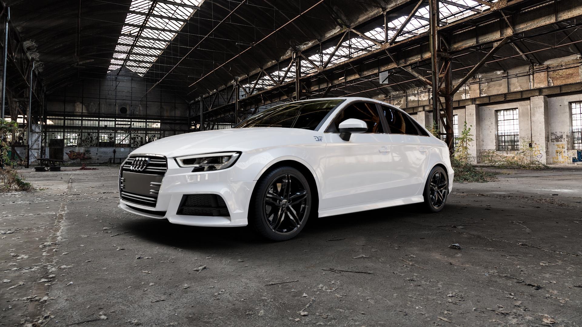 2DRV WH11 Schwarz glänzend lackiert Felge mit Reifen in 18Zoll Winterfelge Alufelge auf weissem Audi A3 Typ 8V (Limousine) Facelift ⬇️ mit 15mm Tieferlegung ⬇️ Industriehalle 1 Camera_000