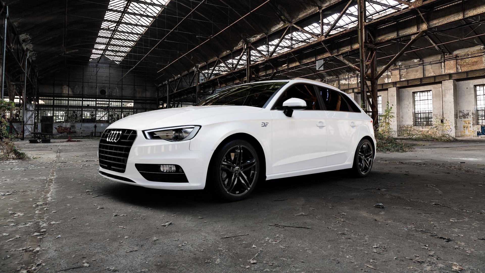 2DRV WH11 Schwarz glänzend lackiert Felge mit Reifen in 18Zoll Winterfelge Alufelge auf weissem Audi A3 Typ 8V (Sportback) ⬇️ mit 15mm Tieferlegung ⬇️ Industriehalle 1 Camera_000