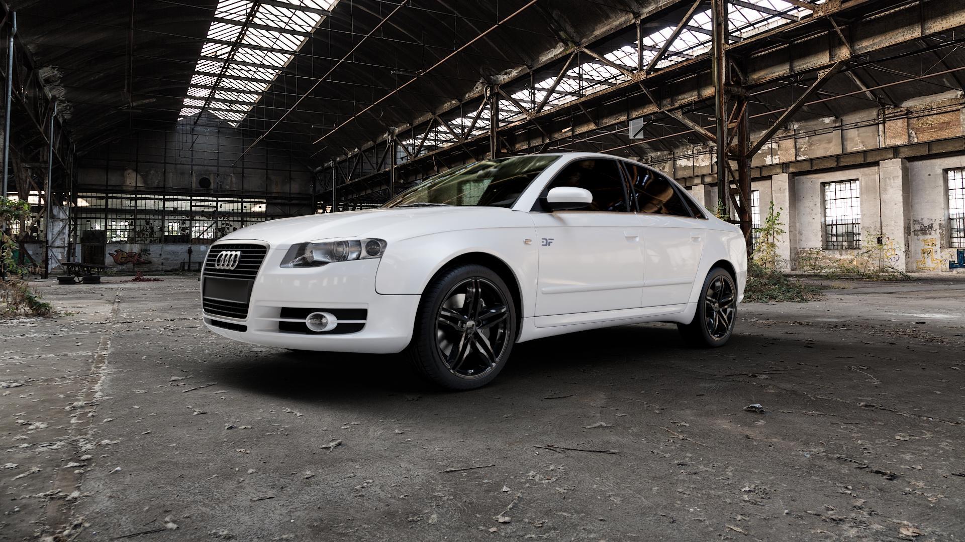 2DRV WH11 Schwarz glänzend lackiert Felge mit Reifen in 18Zoll Winterfelge Alufelge auf weissem Audi A4 Typ 8EC/B7 (Limousine) ⬇️ mit 15mm Tieferlegung ⬇️ Industriehalle 1 Camera_000