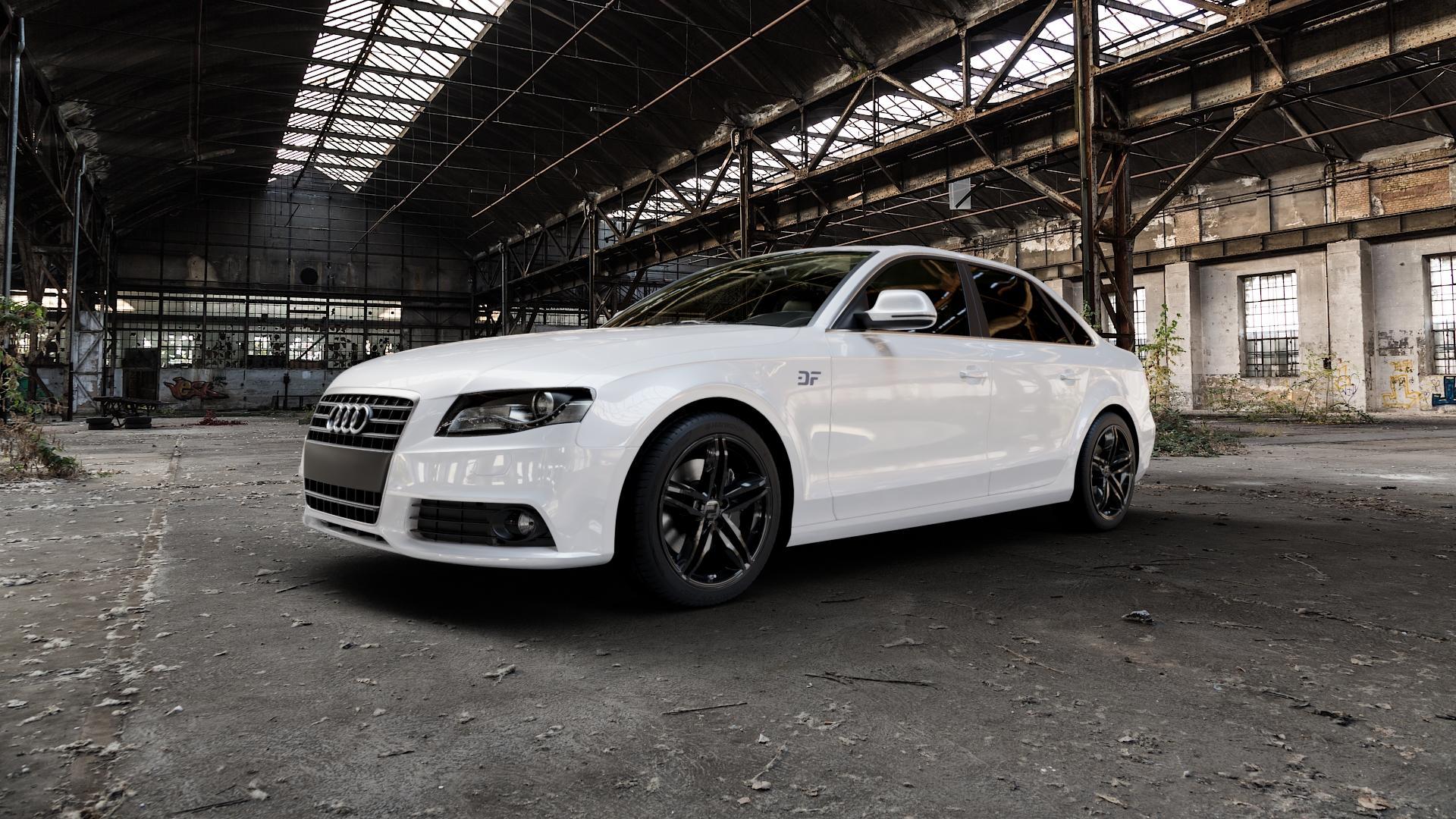 2DRV WH11 Schwarz glänzend lackiert Felge mit Reifen in 18Zoll Winterfelge Alufelge auf weissem Audi A4 Typ 8K2/B8 (Limousine) ⬇️ mit 15mm Tieferlegung ⬇️ Industriehalle 1 Camera_000