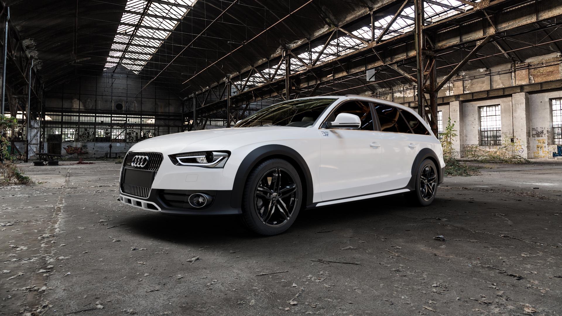 2DRV WH11 Schwarz glänzend lackiert Felge mit Reifen in 18Zoll Winterfelge Alufelge auf weissem Audi A4 Typ 8KH/B8 Allroad ⬇️ mit 15mm Tieferlegung ⬇️ Industriehalle 1 Camera_000