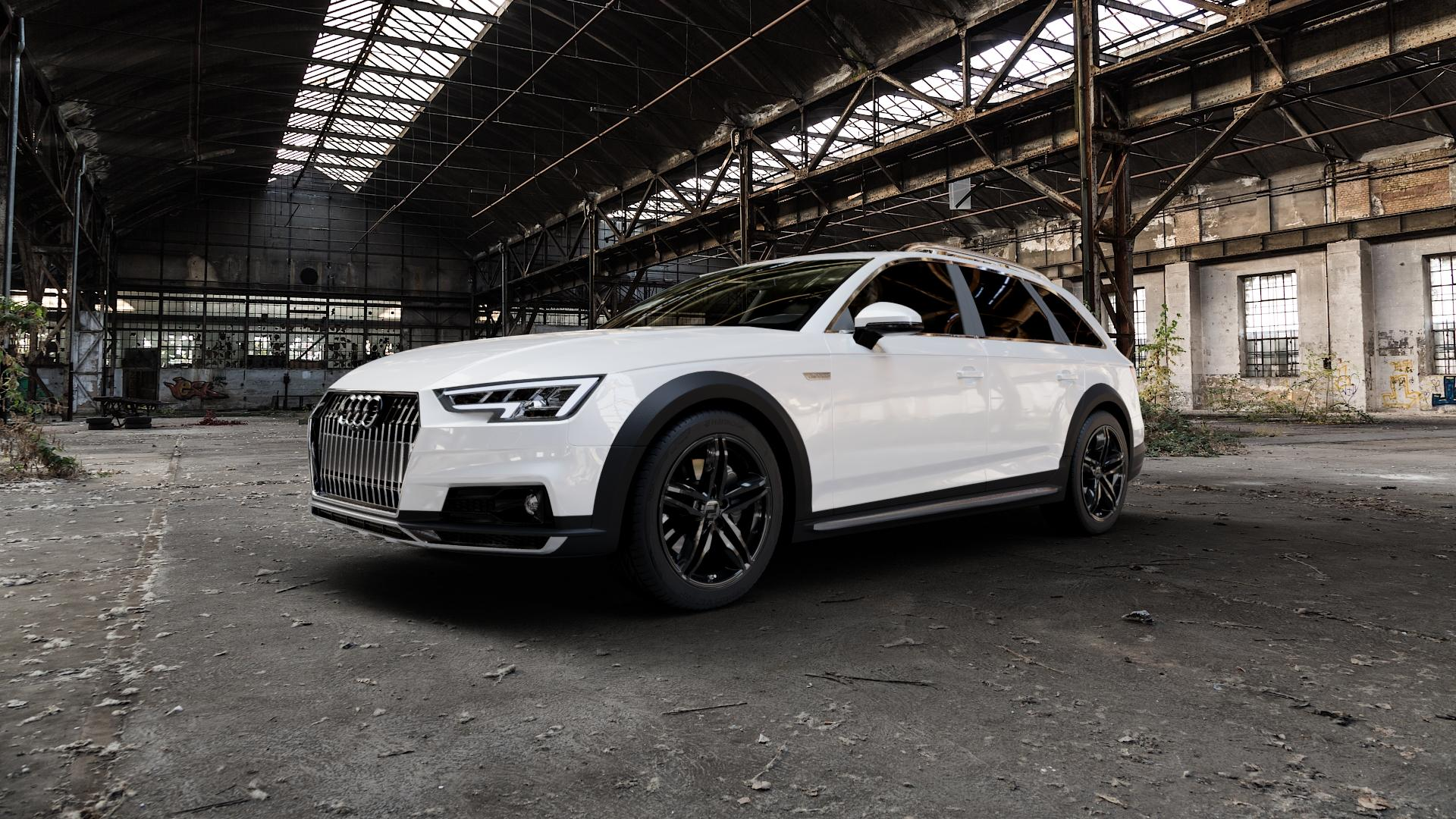 2DRV WH11 Schwarz glänzend lackiert Felge mit Reifen in 18Zoll Winterfelge Alufelge auf weissem Audi A4 Typ B9 Allroad ⬇️ mit 15mm Tieferlegung ⬇️ Industriehalle 1 Camera_000