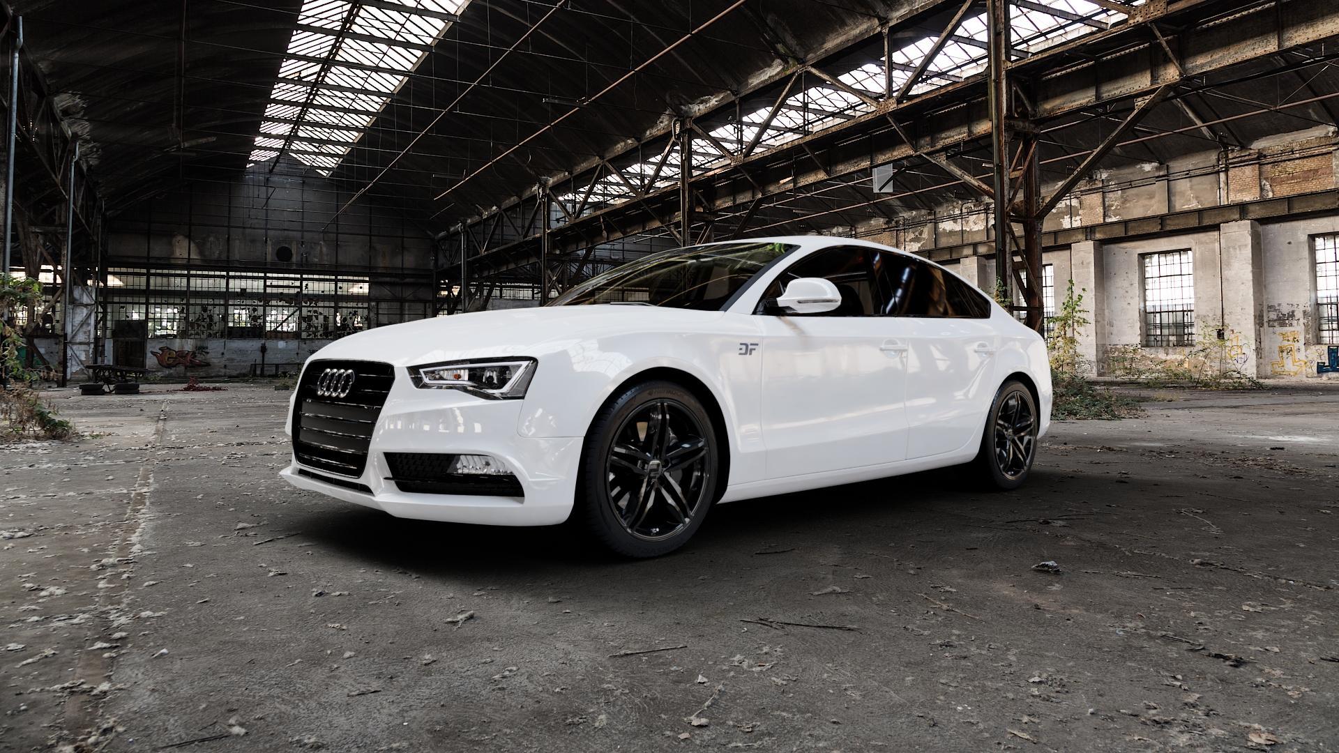 2DRV WH11 Schwarz glänzend lackiert Felge mit Reifen in 18Zoll Winterfelge Alufelge auf weissem Audi A5 Typ B8 (Sportback) Facelift ⬇️ mit 15mm Tieferlegung ⬇️ Industriehalle 1 Camera_000