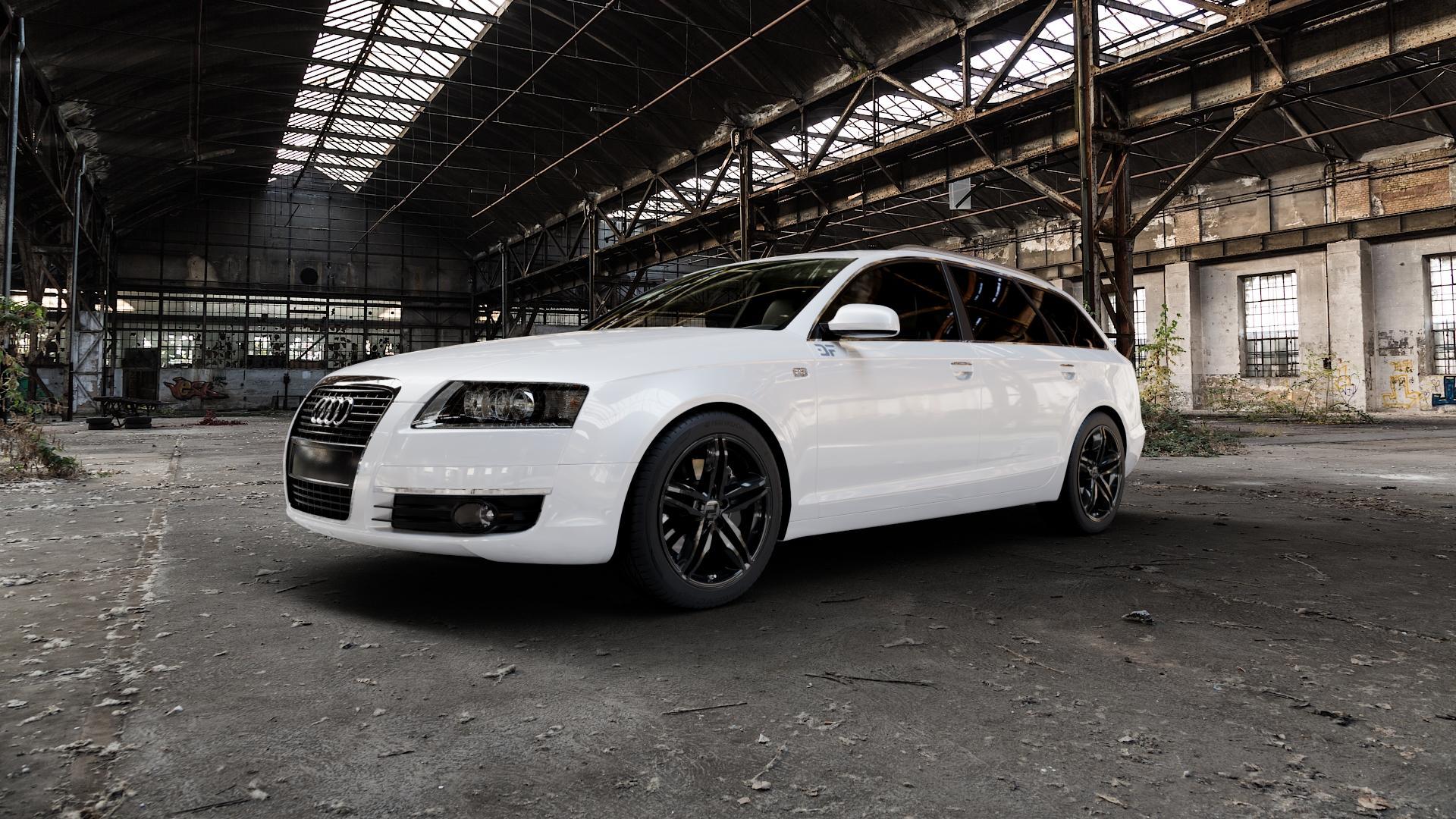 2DRV WH11 Schwarz glänzend lackiert Felge mit Reifen in 18Zoll Winterfelge Alufelge auf weissem Audi A6 Typ 4F/C6 (Avant) ⬇️ mit 15mm Tieferlegung ⬇️ Industriehalle 1 Camera_000
