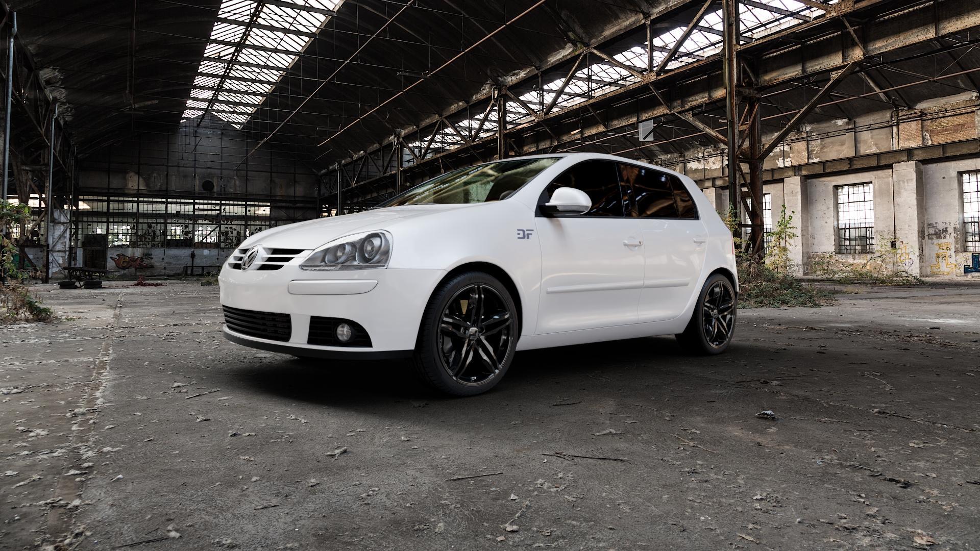 2DRV WH11 Schwarz glänzend lackiert Felge mit Reifen in 18Zoll Winterfelge Alufelge auf weissem Volkswagen (VW) Golf 5 Plus ⬇️ mit 15mm Tieferlegung ⬇️ Industriehalle 1 Camera_000