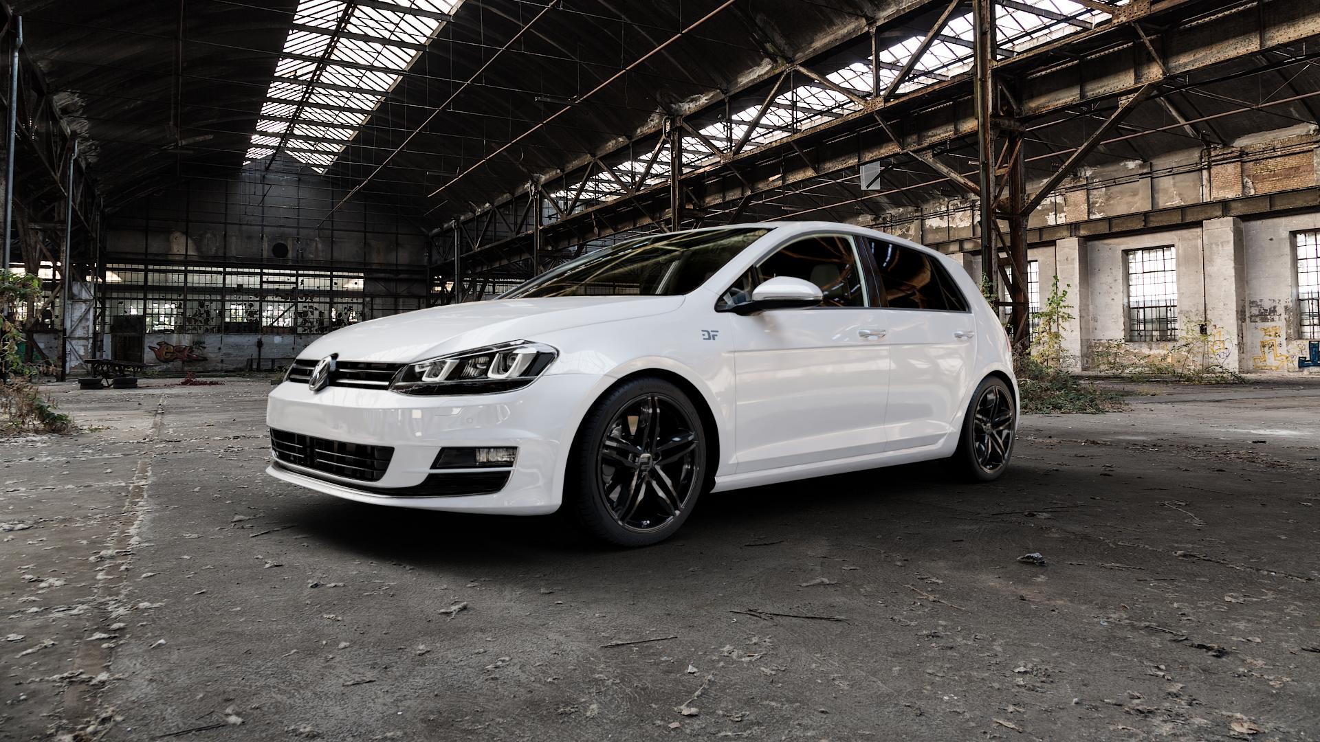 2DRV WH11 Schwarz glänzend lackiert Felge mit Reifen in 18Zoll Winterfelge Alufelge auf weissem Volkswagen (VW) Golf 7 ⬇️ mit 15mm Tieferlegung ⬇️ Industriehalle 1 Camera_000