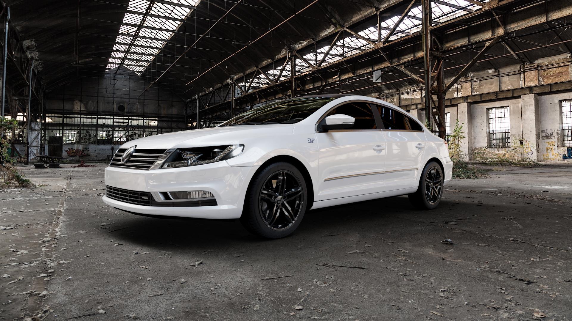 2DRV WH11 Schwarz glänzend lackiert Felge mit Reifen in 18Zoll Winterfelge Alufelge auf weissem Volkswagen (VW) Passat CC II (15->) ⬇️ mit 15mm Tieferlegung ⬇️ Industriehalle 1 Camera_000