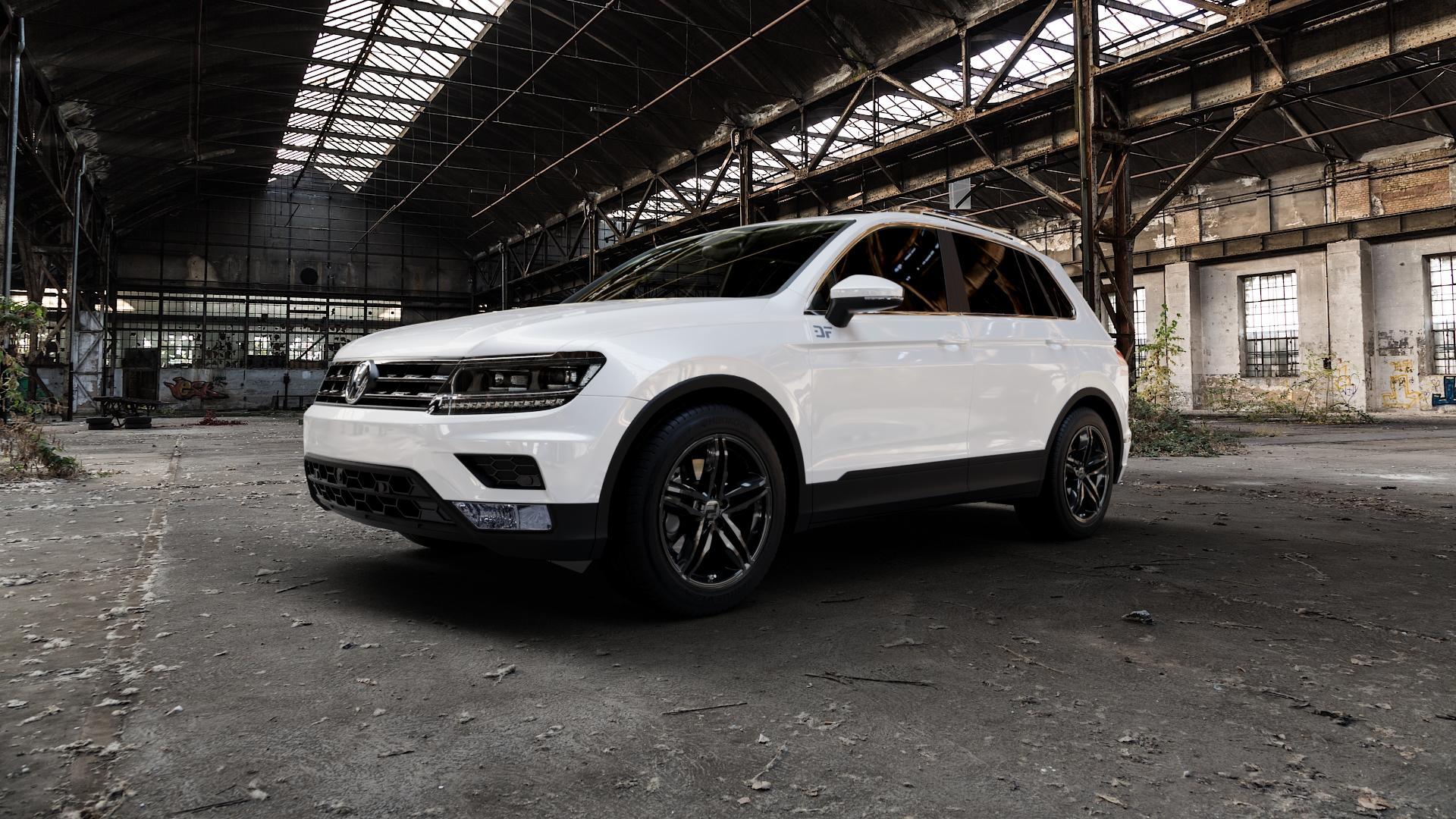 2DRV WH11 Schwarz glänzend lackiert Felge mit Reifen in 18Zoll Winterfelge Alufelge auf weissem Volkswagen (VW) Tiguan II Typ 5N ⬇️ mit 15mm Tieferlegung ⬇️ Industriehalle 1 Camera_000