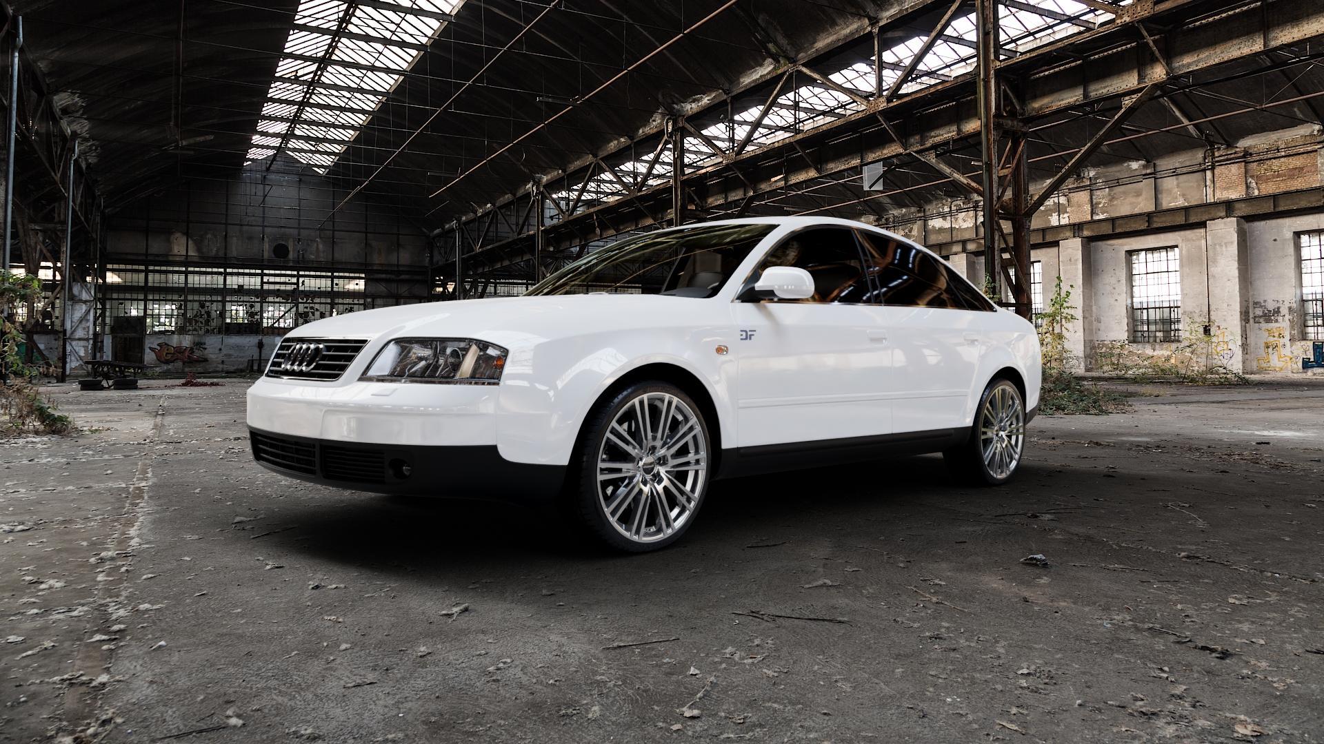 2DRV WH18 Daytona Grau Hochglanzpoliert Felge mit Reifen silber mehrfarbig in 19Zoll Alufelge auf weissem Audi A6 Typ 4B/C5 (Limousine) ⬇️ mit 15mm Tieferlegung ⬇️ Industriehalle 1 Camera_000