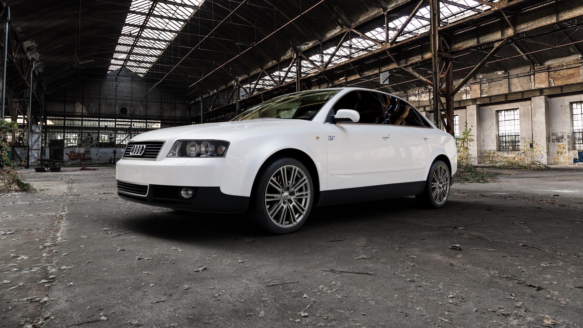 2DRV WH18 Daytona Grau lackiert Felge mit Reifen in 18Zoll Winterfelge Alufelge auf weissem Audi A4 Typ 8E2/B6 (Limousine) ⬇️ mit 15mm Tieferlegung ⬇️ Industriehalle 1 Camera_000