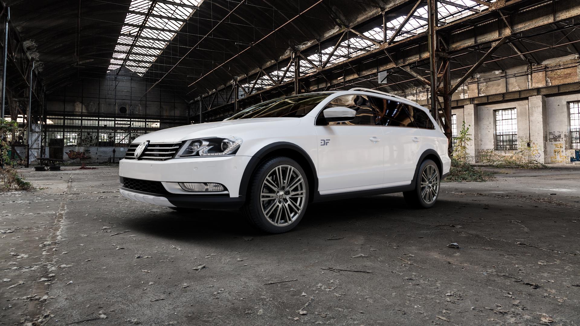 2DRV WH18 Daytona Grau lackiert Felge mit Reifen in 18Zoll Winterfelge Alufelge auf weissem Volkswagen (VW) Passat 3C/B7 Alltrack ⬇️ mit 15mm Tieferlegung ⬇️ Industriehalle 1 Camera_000