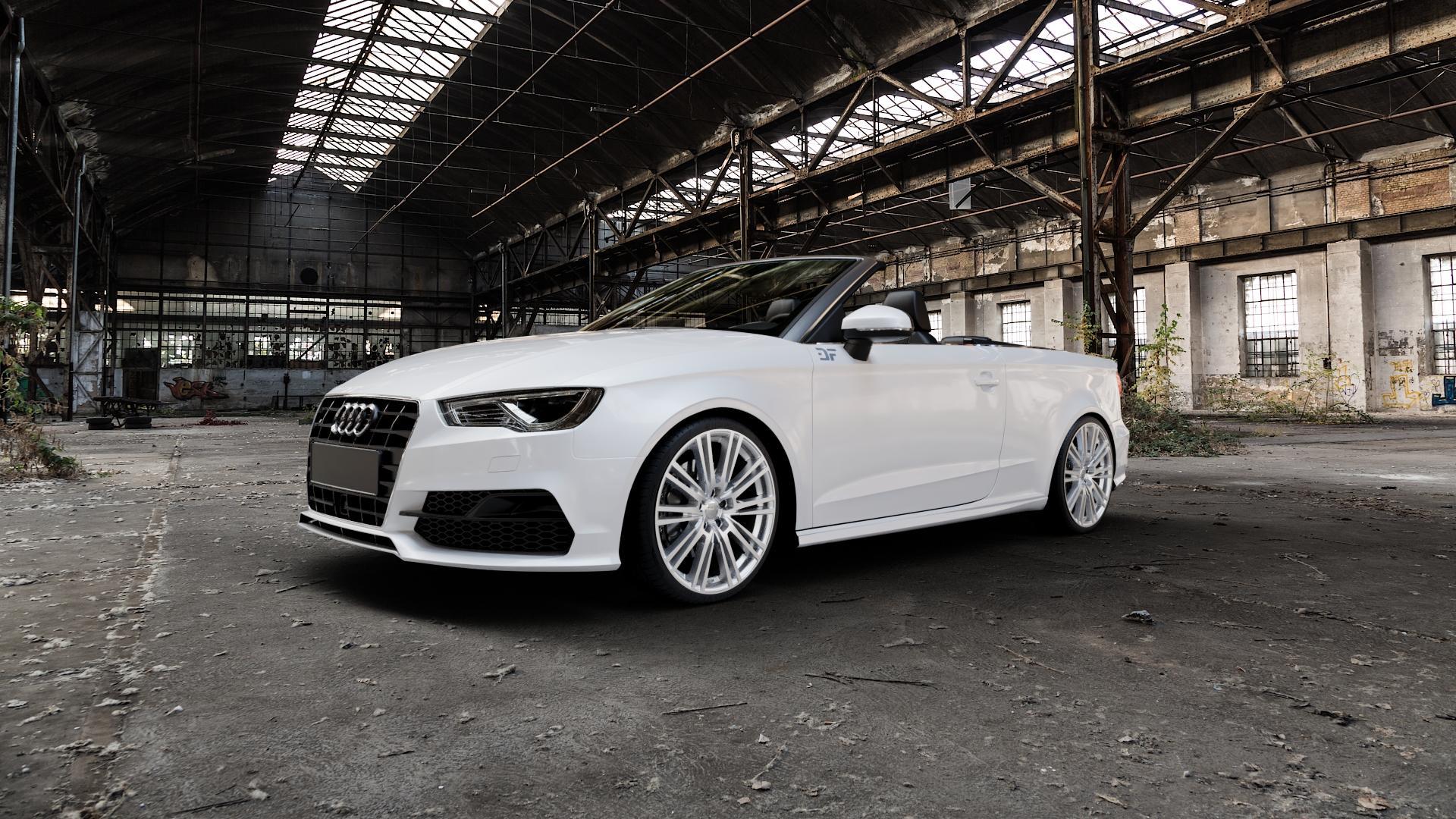 2DRV WH18 Race Silber lackiert Felge mit Reifen in 19Zoll Winterfelge Alufelge auf weissem Audi A3 Typ 8V (Cabriolet) ⬇️ mit 15mm Tieferlegung ⬇️ Industriehalle 1 Camera_000