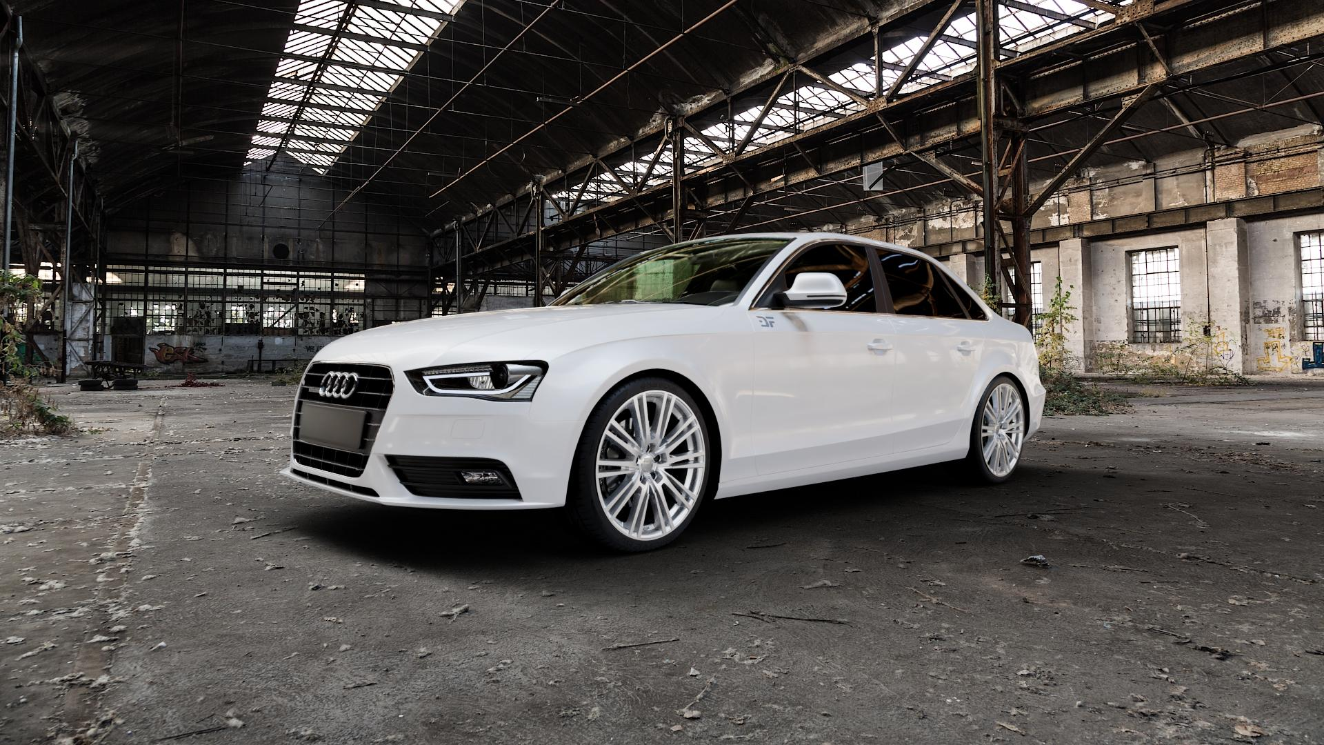 2DRV WH18 Race Silber lackiert Felge mit Reifen in 19Zoll Winterfelge Alufelge auf weissem Audi A4 Typ 8K2/B8 (Limousine) Facelift ⬇️ mit 15mm Tieferlegung ⬇️ Industriehalle 1 Camera_000
