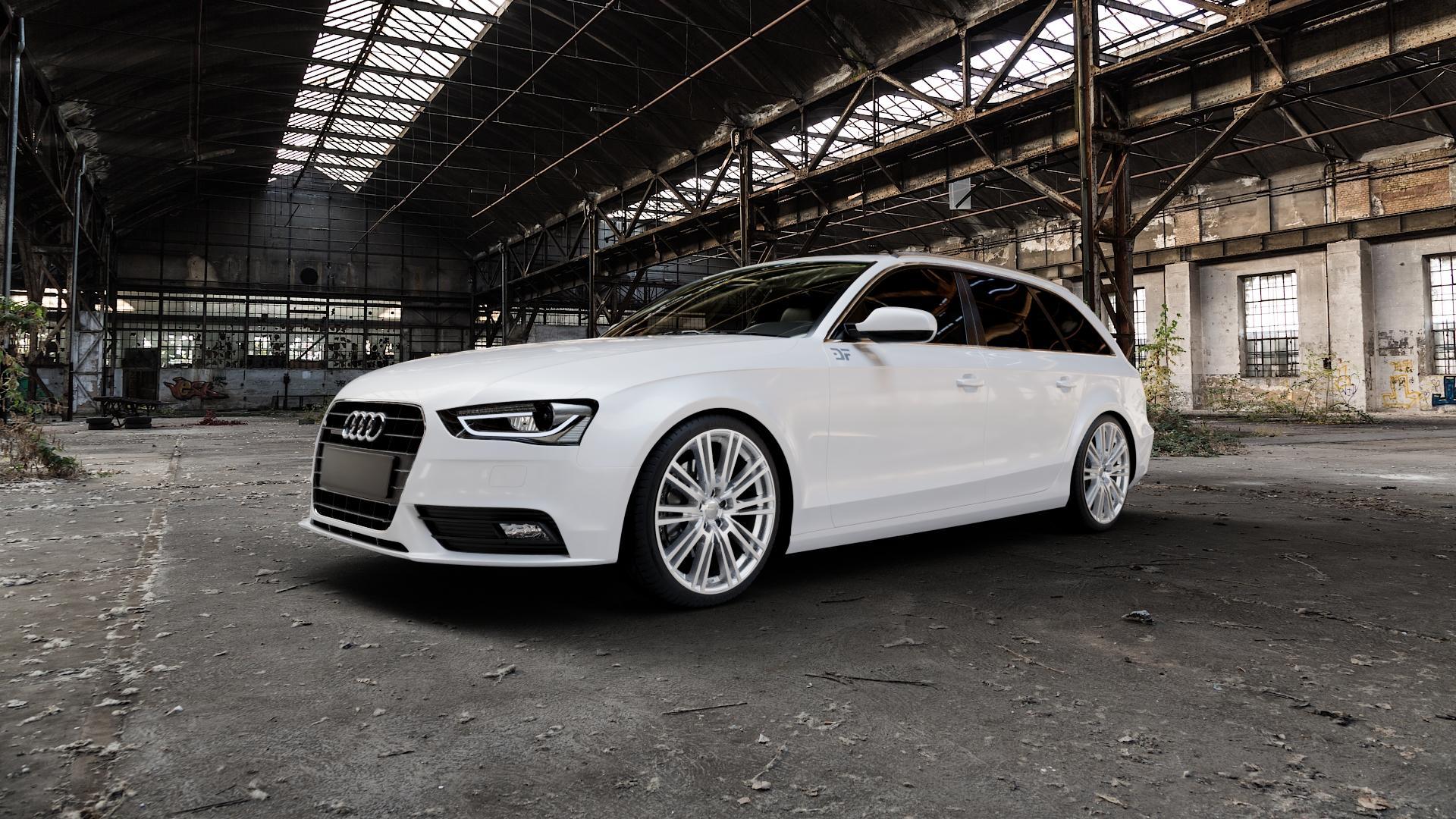 2DRV WH18 Race Silber lackiert Felge mit Reifen in 19Zoll Winterfelge Alufelge auf weissem Audi A4 Typ 8K5/B8 (Avant) Facelift ⬇️ mit 15mm Tieferlegung ⬇️ Industriehalle 1 Camera_000