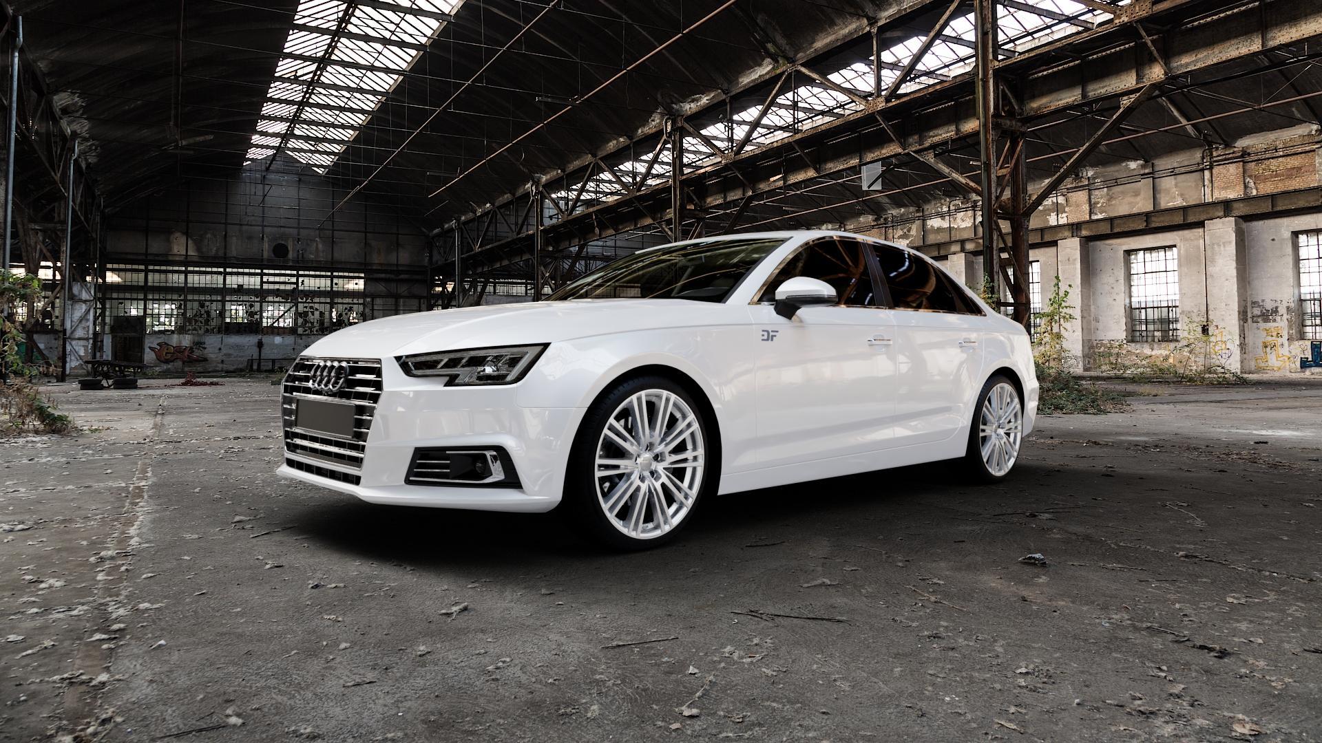 2DRV WH18 Race Silber lackiert Felge mit Reifen in 19Zoll Winterfelge Alufelge auf weissem Audi A4 Typ B9 (Limousine) ⬇️ mit 15mm Tieferlegung ⬇️ Industriehalle 1 Camera_000