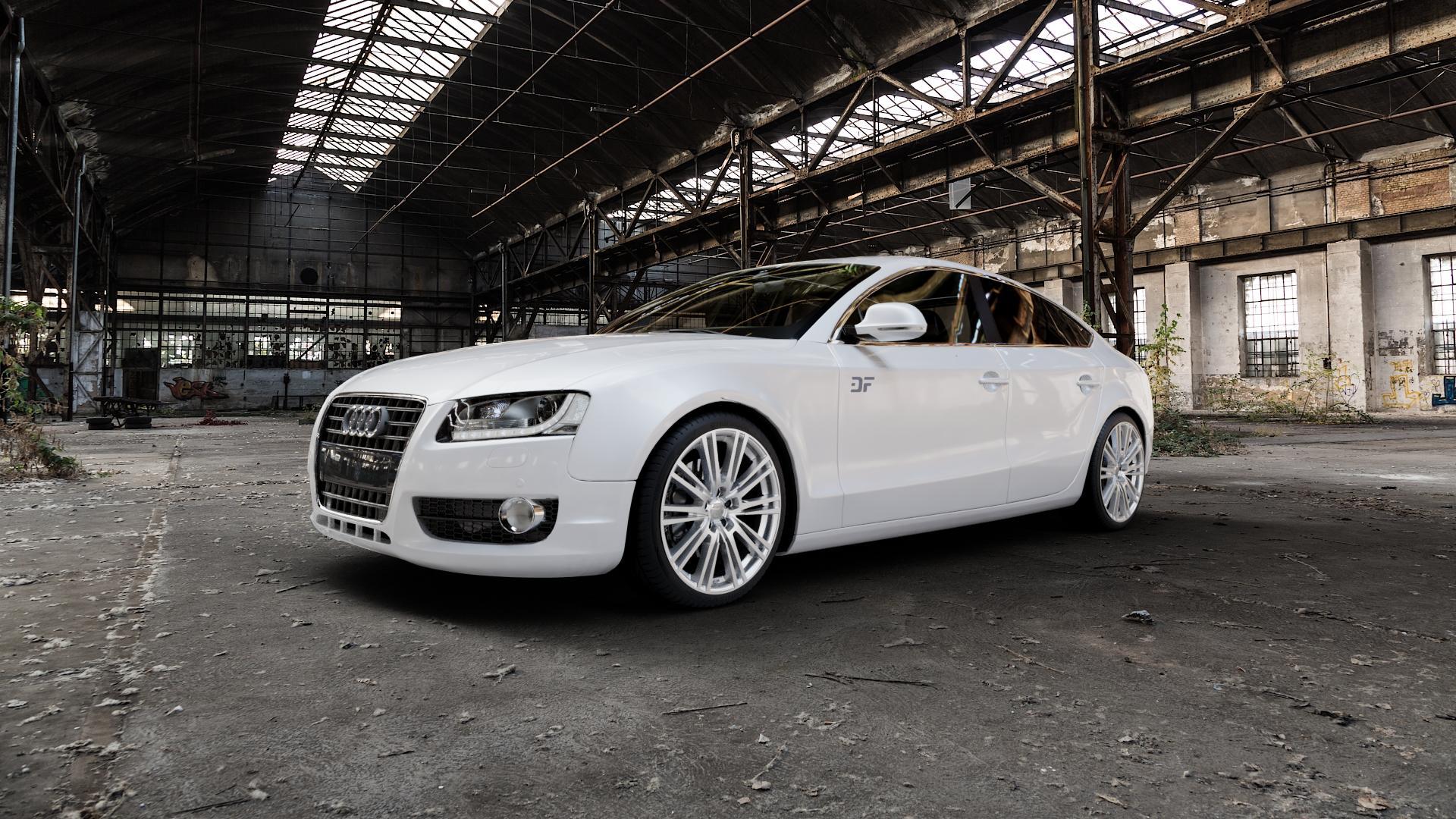 2DRV WH18 Race Silber lackiert Felge mit Reifen in 19Zoll Winterfelge Alufelge auf weissem Audi A5 Typ B8 (Sportback) ⬇️ mit 15mm Tieferlegung ⬇️ Industriehalle 1 Camera_000