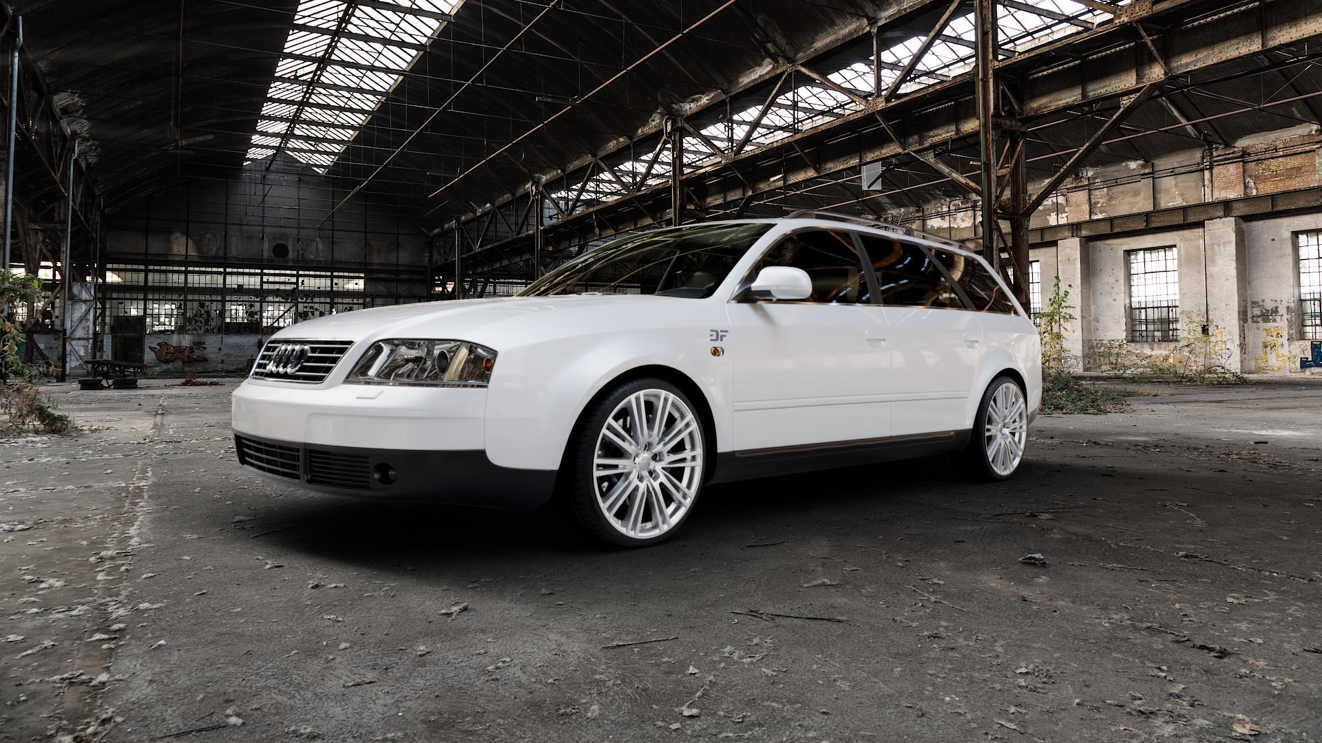 2DRV WH18 Race Silber lackiert Felge mit Reifen in 19Zoll Winterfelge Alufelge auf weissem Audi A6 Typ 4B/C5 (Avant) ⬇️ mit 15mm Tieferlegung ⬇️ Industriehalle 1 Camera_000