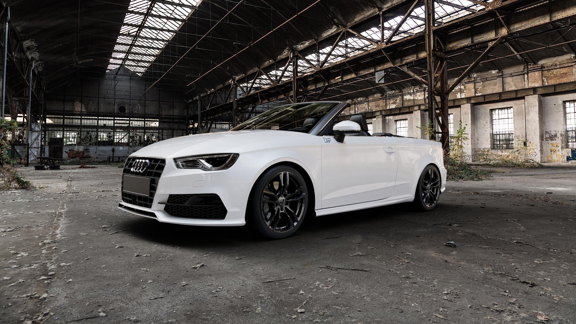 2DRV WH29 Schwarz glänzend lackiert Felge mit Reifen in 18Zoll Winterfelge Alufelge auf weissem Audi A3 Typ 8V (Cabriolet) ⬇️ mit 15mm Tieferlegung ⬇️ Industriehalle 1 Camera_000