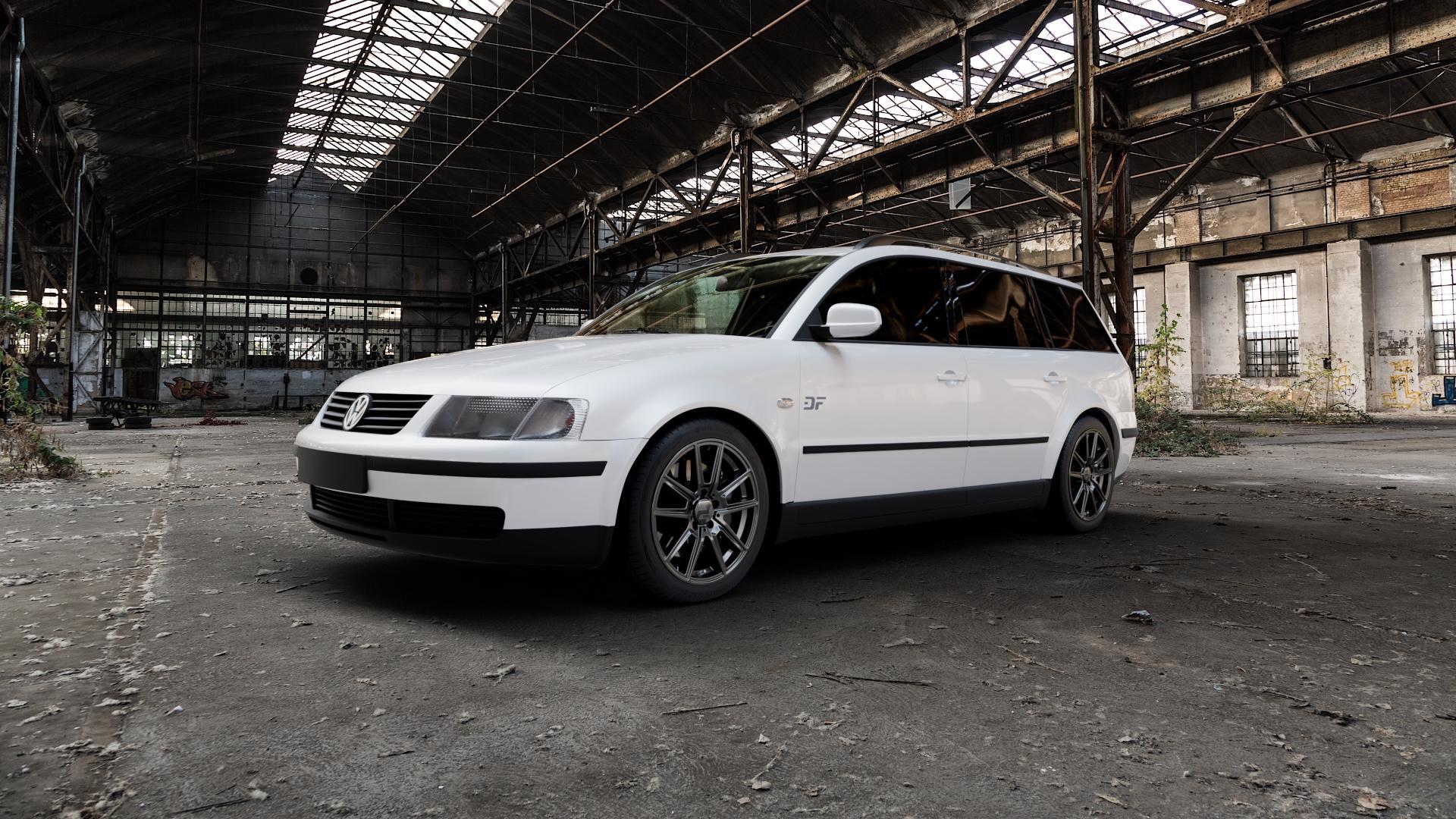 2DRV WH30 Dark Gunmetal lackiert Felge mit Reifen grau in 17Zoll Winterfelge Alufelge auf weissem Volkswagen (VW) Passat 3B Limousine Variant ⬇️ mit 15mm Tieferlegung ⬇️ Industriehalle 1 Camera_000