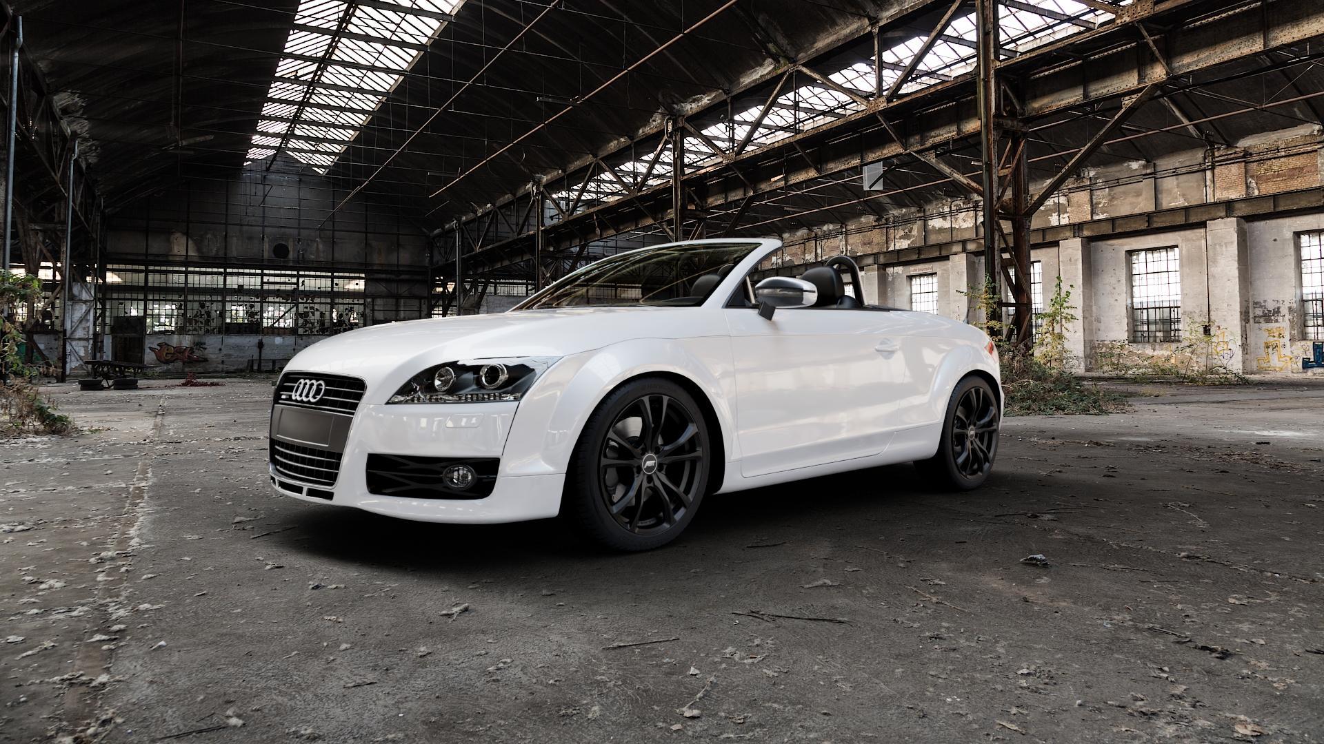 ABT Sportsline ER-C Matt black Felge mit Reifen schwarz in 18Zoll Winterfelge Alufelge auf weissem Audi TT II Typ 8J (Roadster) ⬇️ mit 15mm Tieferlegung ⬇️ Industriehalle 1 Camera_000