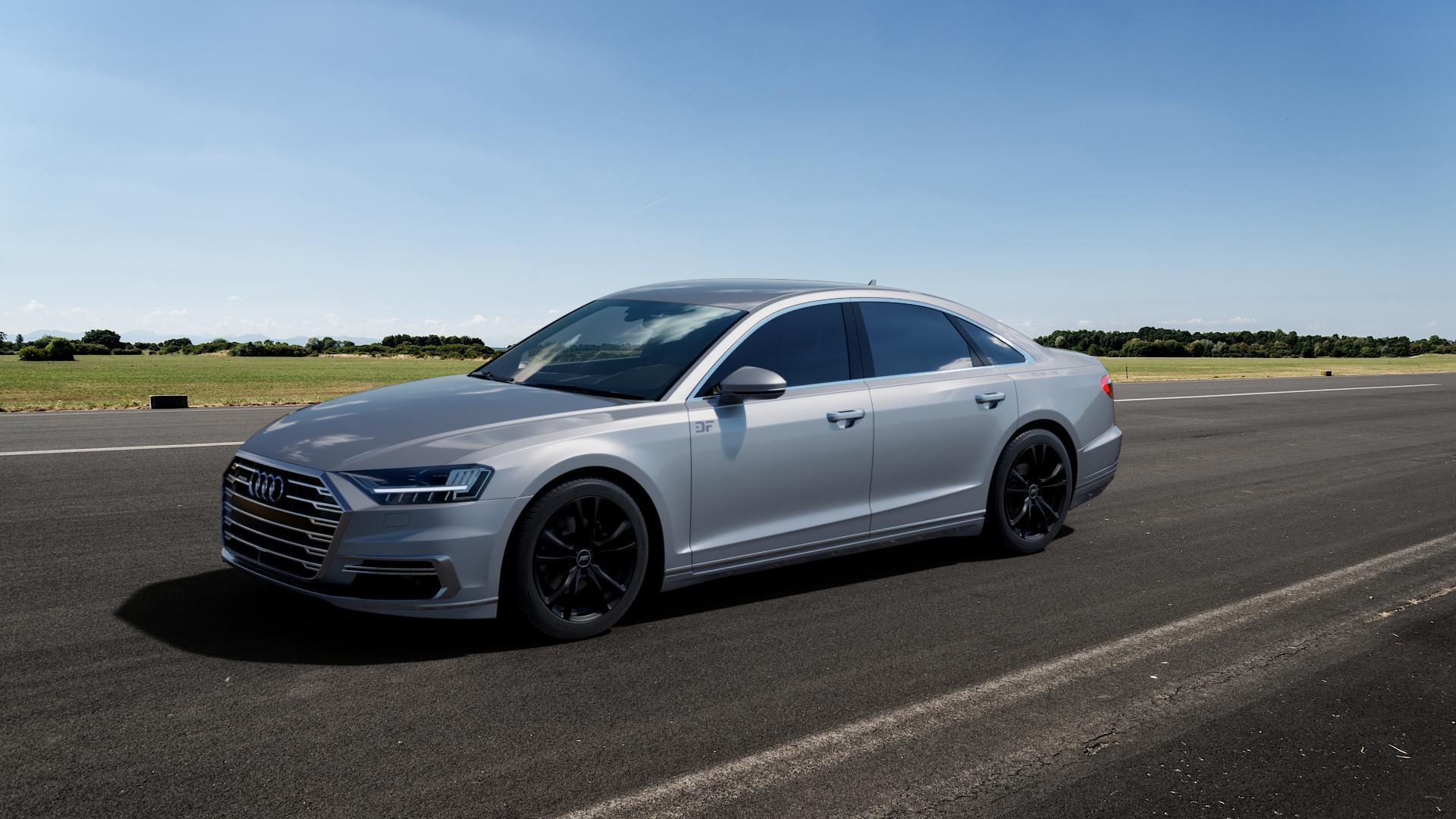 ABT Sportsline ER-C Matt black Felge mit Reifen schwarz in 19Zoll Winterfelge Alufelge auf silbernem Audi A8 Typ D5/F8 3,0l 60 TFSI e quattro 250kW (340 PS) Hybrid 4,0l 338kW (460 420kW S8 (571 TDI 210kW (286 320kW (435 ⬇️ mit 15mm Tieferlegung ⬇️ Big_Vehicle_Airstrip_1 Frontansicht_1