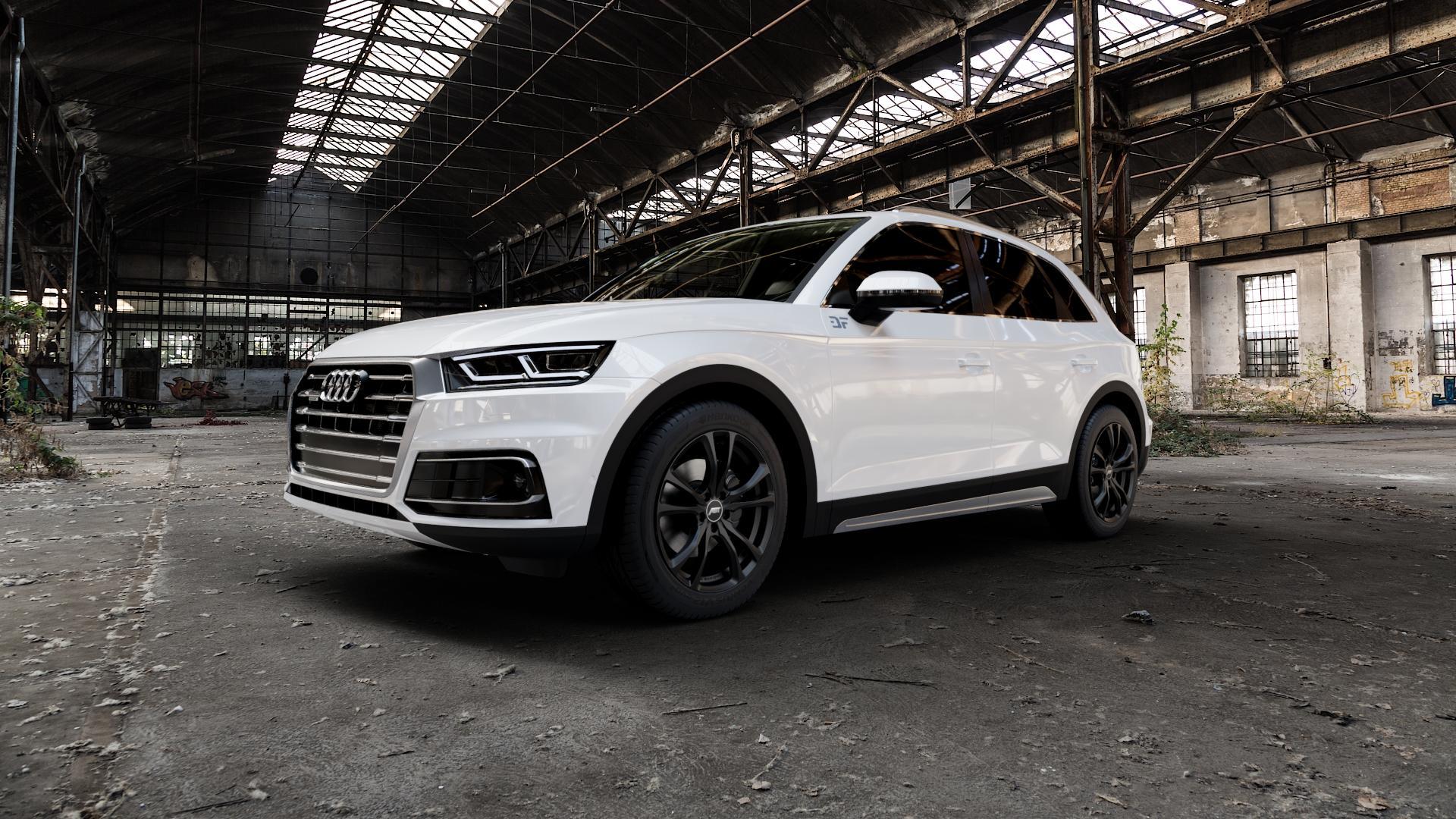 ABT Sportsline ER-C Matt black Felge mit Reifen schwarz in 19Zoll Winterfelge Alufelge auf weissem Audi Q5 II Typ FY ⬇️ mit 15mm Tieferlegung ⬇️ Industriehalle 1 Camera_000