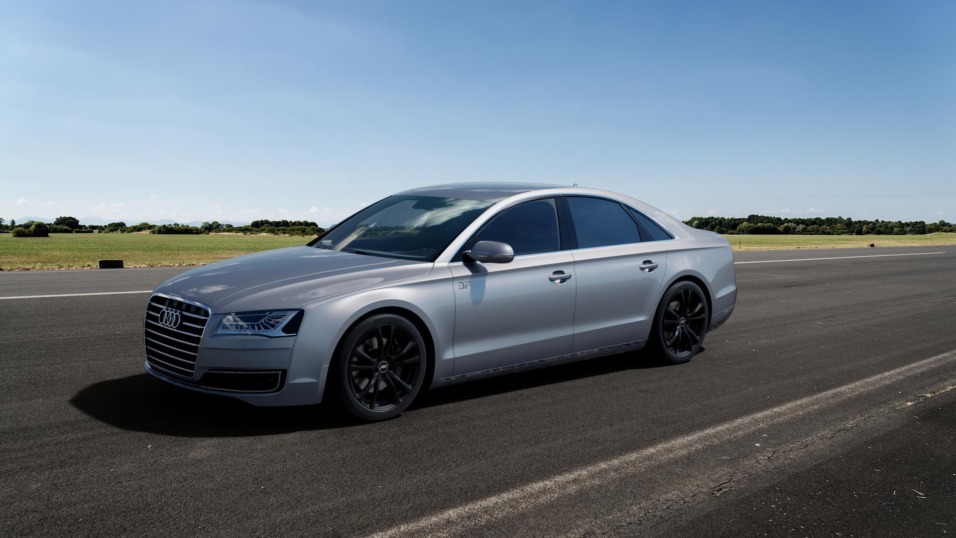 ABT Sportsline ER-C Matt black Felge mit Reifen schwarz in 20Zoll Winterfelge Alufelge auf silbernem Audi A8 Typ D4/4H Facelift ⬇️ mit 15mm Tieferlegung ⬇️ Big_Vehicle_Airstrip_1 Frontansicht_1