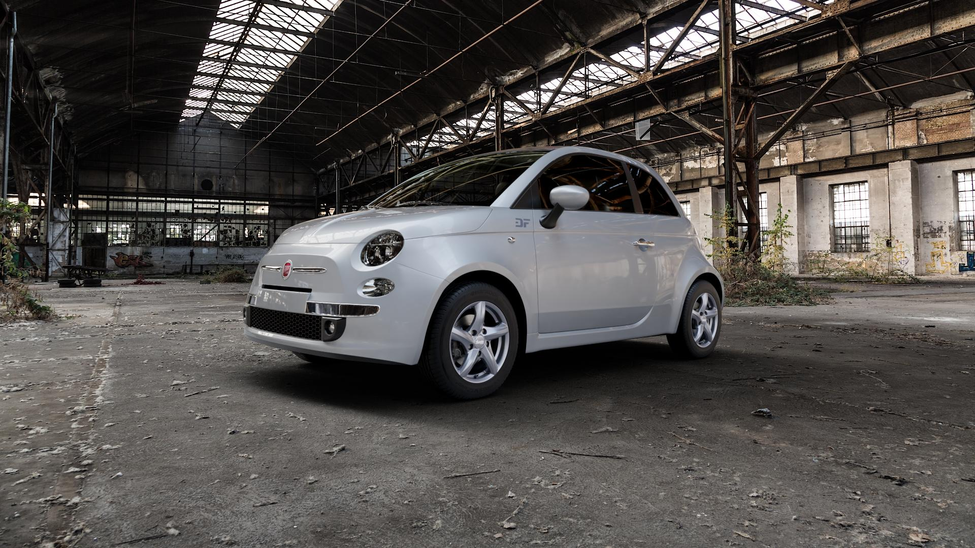 ADVANTI Nepa Matt gun metal Felge mit Reifen grau Titan anthrazit in 14Zoll Winterfelge Alufelge auf silbernem Fiat 500 Typ 312 Cabrio Facelift ⬇️ mit 15mm Tieferlegung ⬇️ Industriehalle 1 Camera_000