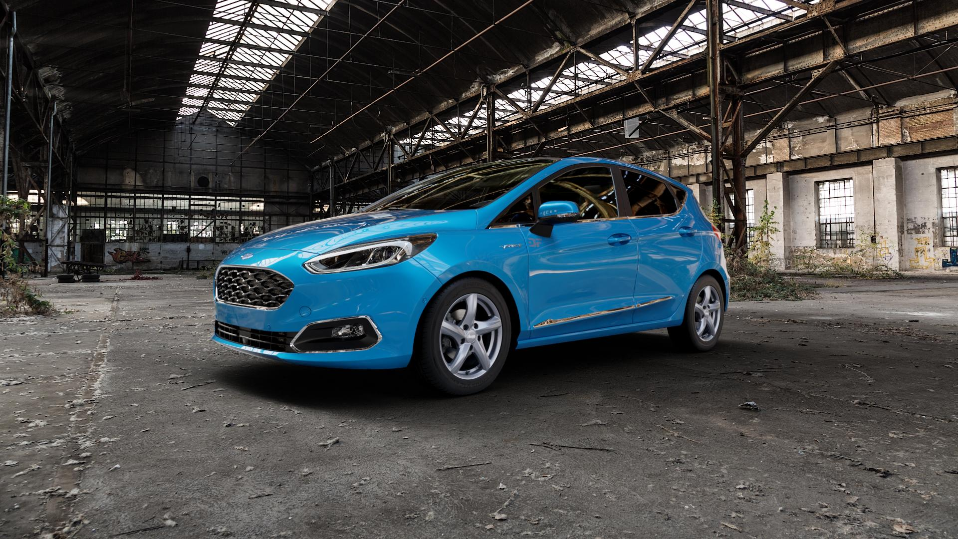 ADVANTI Nepa Matt gun metal Felge mit Reifen grau Titan anthrazit in 15Zoll Winterfelge Alufelge auf hellblau Ford Fiesta VII Typ JHH ⬇️ mit 15mm Tieferlegung ⬇️ Industriehalle 1 Camera_000