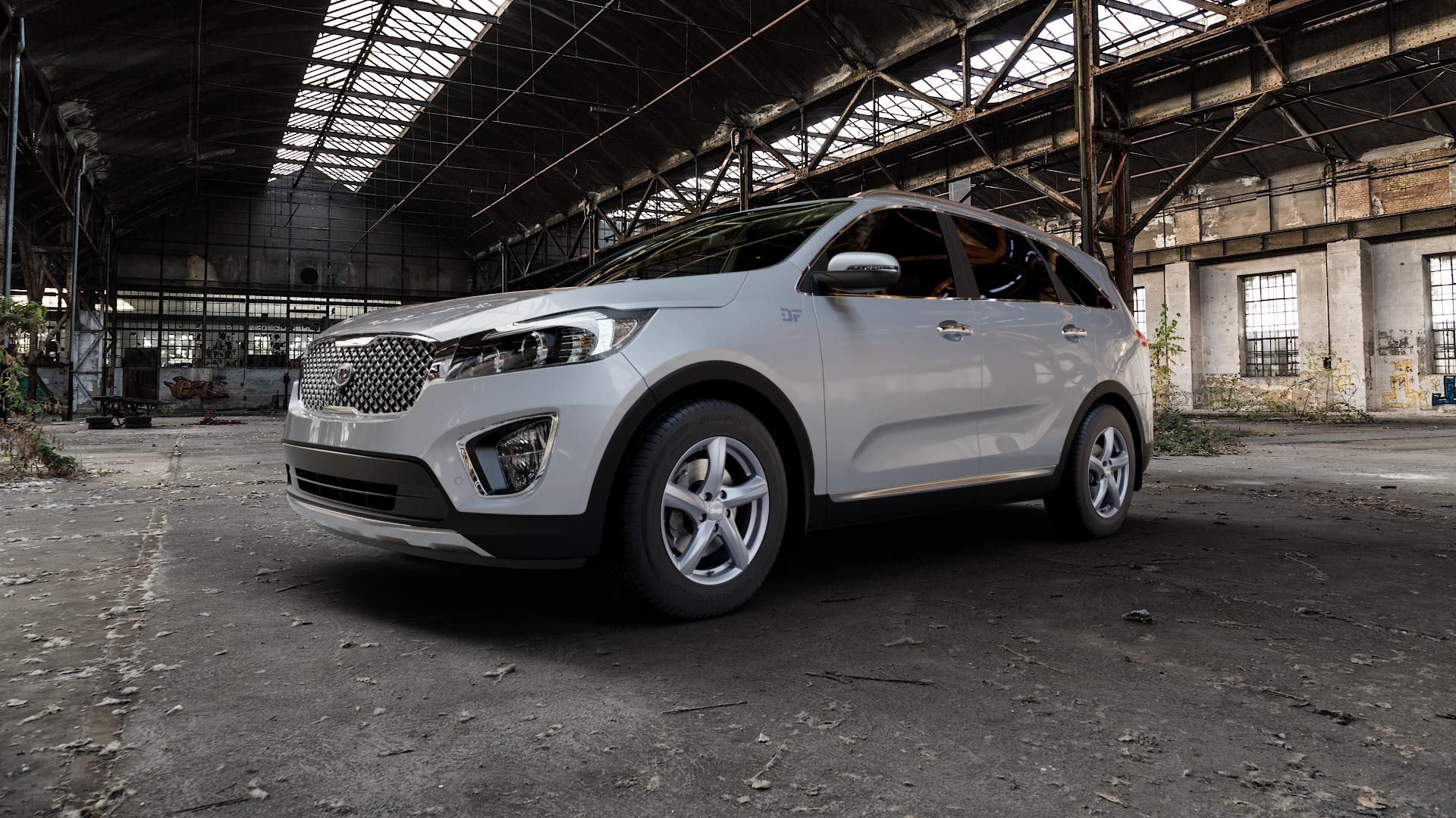 ADVANTI Nepa Matt gun metal Felge mit Reifen grau Titan anthrazit in 17Zoll Winterfelge Alufelge auf silbernem Kia Sorento III Typ UM ⬇️ mit 15mm Tieferlegung ⬇️ Industriehalle 1 Camera_000