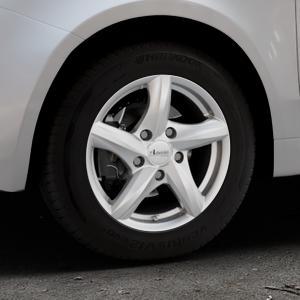 ADVANTI Nepa Silver Felge mit Reifen silber in 14Zoll Winterfelge Alufelge auf silbernem Fiat 500 Typ 312 Cabrio Facelift ⬇️ mit 15mm Tieferlegung ⬇️ Industriehalle 1 Thumbnail