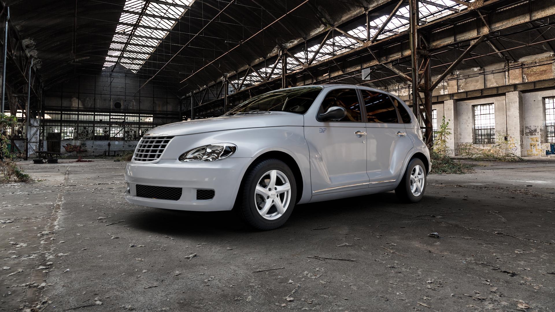 ADVANTI Nepa Silver Felge mit Reifen silber in 15Zoll Winterfelge Alufelge auf silbernem Chrysler PT Cruiser Cabriolet ⬇️ mit 15mm Tieferlegung ⬇️ Industriehalle 1 Camera_000