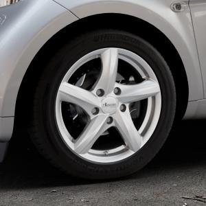 ADVANTI Nepa Silver Felge mit Reifen silber in 15Zoll Winterfelge Alufelge auf silbernem Smart Fortwo Coupe III (14-) (453) Cabrio (16-) ⬇️ mit 15mm Tieferlegung ⬇️ Industriehalle 1 Thumbnail