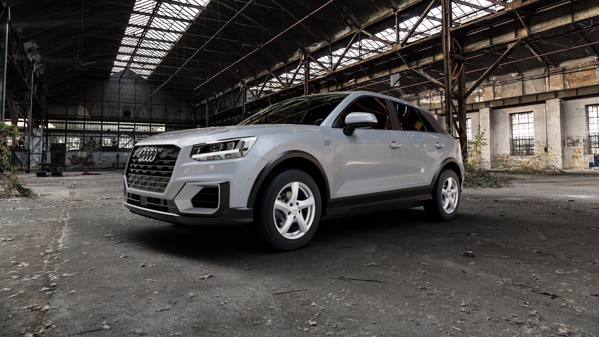 ADVANTI Nepa Silver Felge mit Reifen silber in 16Zoll Winterfelge Alufelge auf silbernem Audi Q2 Typ GA ⬇️ mit 15mm Tieferlegung ⬇️ Industriehalle 1 Camera_000