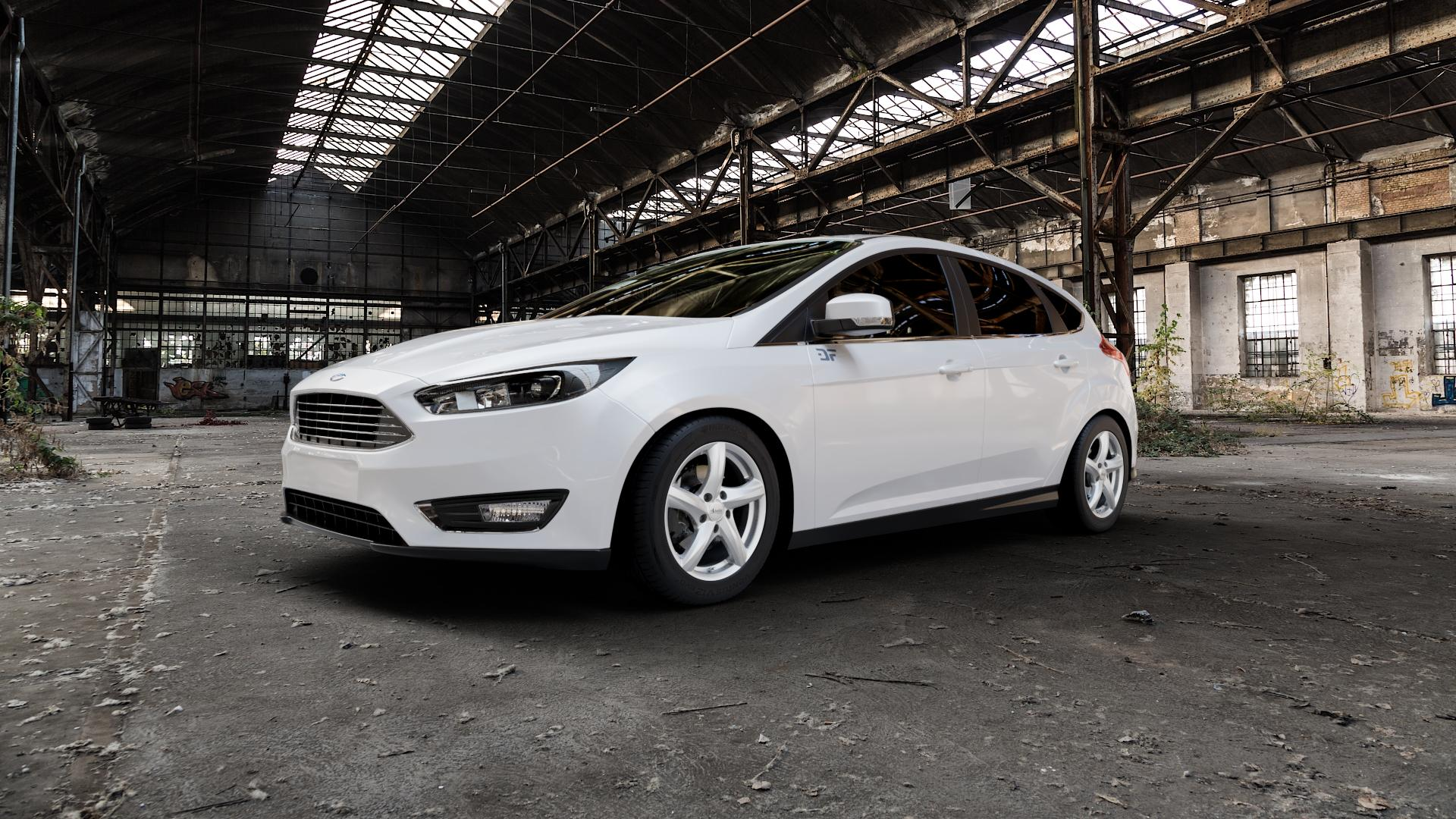 ADVANTI Nepa Silver Felge mit Reifen silber in 16Zoll Winterfelge Alufelge auf weissem Ford Focus III Typ DYB Facelift (Schrägheck) ⬇️ mit 15mm Tieferlegung ⬇️ Industriehalle 1 Camera_000
