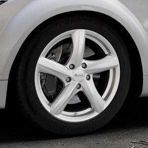 ADVANTI Nepa Silver Felge mit Reifen silber in 17Zoll Winterfelge Alufelge auf silbernem Audi TT II Typ 8J (Roadster) ⬇️ mit 15mm Tieferlegung ⬇️ Industriehalle 1 Thumbnail