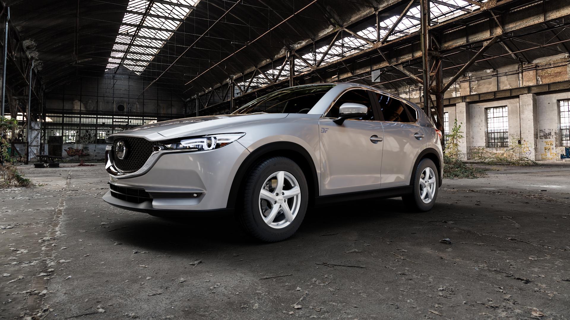 ADVANTI Nepa Silver Felge mit Reifen silber in 17Zoll Winterfelge Alufelge auf silbernem Mazda CX-5 Typ KF ⬇️ mit 15mm Tieferlegung ⬇️ Industriehalle 1 Camera_000