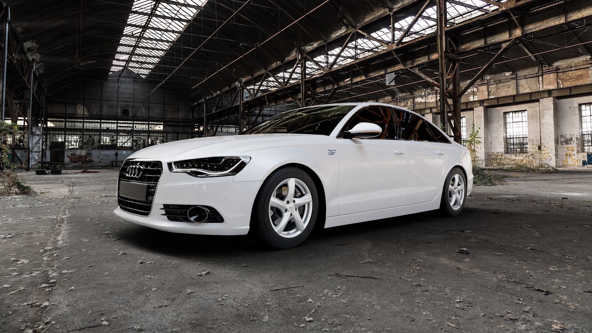 ADVANTI Nepa Silver Felge mit Reifen silber in 17Zoll Winterfelge Alufelge auf weissem Audi A6 Typ 4G/C7 (Limousine) ⬇️ mit 15mm Tieferlegung ⬇️ Industriehalle 1 Camera_000