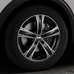 ADVANTI Raccoon Black matt polished Felge mit Reifen silber schwarz mehrfarbig in 17Zoll Alufelge auf silbernem Peugeot 5008 Typ M ⬇️ mit 15mm Tieferlegung ⬇️ Industriehalle 1 Thumbnail