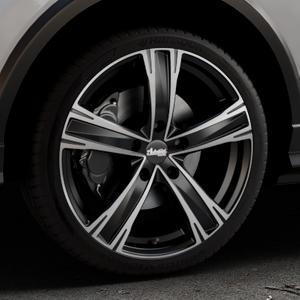 ADVANTI Raccoon Black matt polished Felge mit Reifen silber schwarz mehrfarbig in 19Zoll Alufelge auf silbernem Audi Q2 Typ GA ⬇️ mit 15mm Tieferlegung ⬇️ Industriehalle 1 Thumbnail
