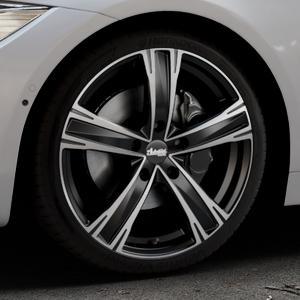 ADVANTI Raccoon Black matt polished Felge mit Reifen silber schwarz mehrfarbig in 19Zoll Alufelge auf silbernem BMW 418d Typ F36 (Gran Coupe) 420d xDrive 420i 428i 435i 430d 440i 418i 430i 425d ⬇️ mit 15mm Tieferlegung ⬇️ Industriehalle 1 Thumbnail