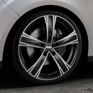 ADVANTI Raccoon Black matt polished Felge mit Reifen silber schwarz mehrfarbig in 19Zoll Alufelge auf silbernem Ford Focus III Typ DYB (Turnier) ⬇️ mit 15mm Tieferlegung ⬇️ Industriehalle 1 Thumbnail