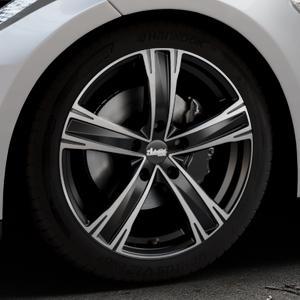 ADVANTI Raccoon Black matt polished Felge mit Reifen silber schwarz mehrfarbig in 19Zoll Alufelge auf silbernem Tesla Model S Typ 002 ⬇️ mit 15mm Tieferlegung ⬇️ Industriehalle 1 Thumbnail