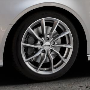 ADVANTI Turba hd Hyper dark Felge mit Reifen silber in 17Zoll Winterfelge Alufelge auf silbernem Audi A3 Typ 8V (Cabriolet) ⬇️ mit 15mm Tieferlegung ⬇️ Industriehalle 1 Thumbnail