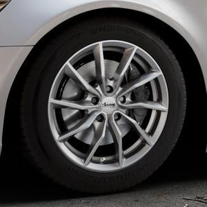 ADVANTI Turba hd Hyper dark Felge mit Reifen silber in 17Zoll Winterfelge Alufelge auf silbernem Audi A6 Typ 4G/C7 (Limousine) ⬇️ mit 15mm Tieferlegung ⬇️ Industriehalle 1 Thumbnail